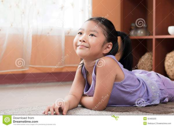 Cute Little Girl Day Dreaming. Stock Image - Image of ...