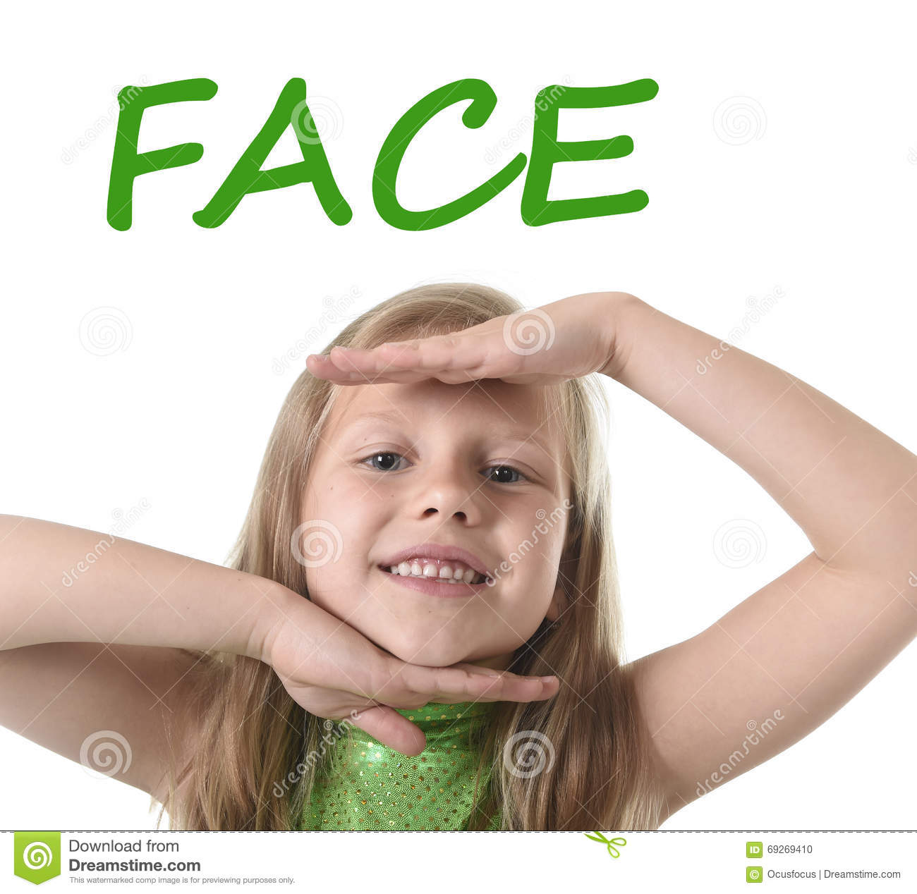 Cute Little Girl Showing Face In Body Parts Learning