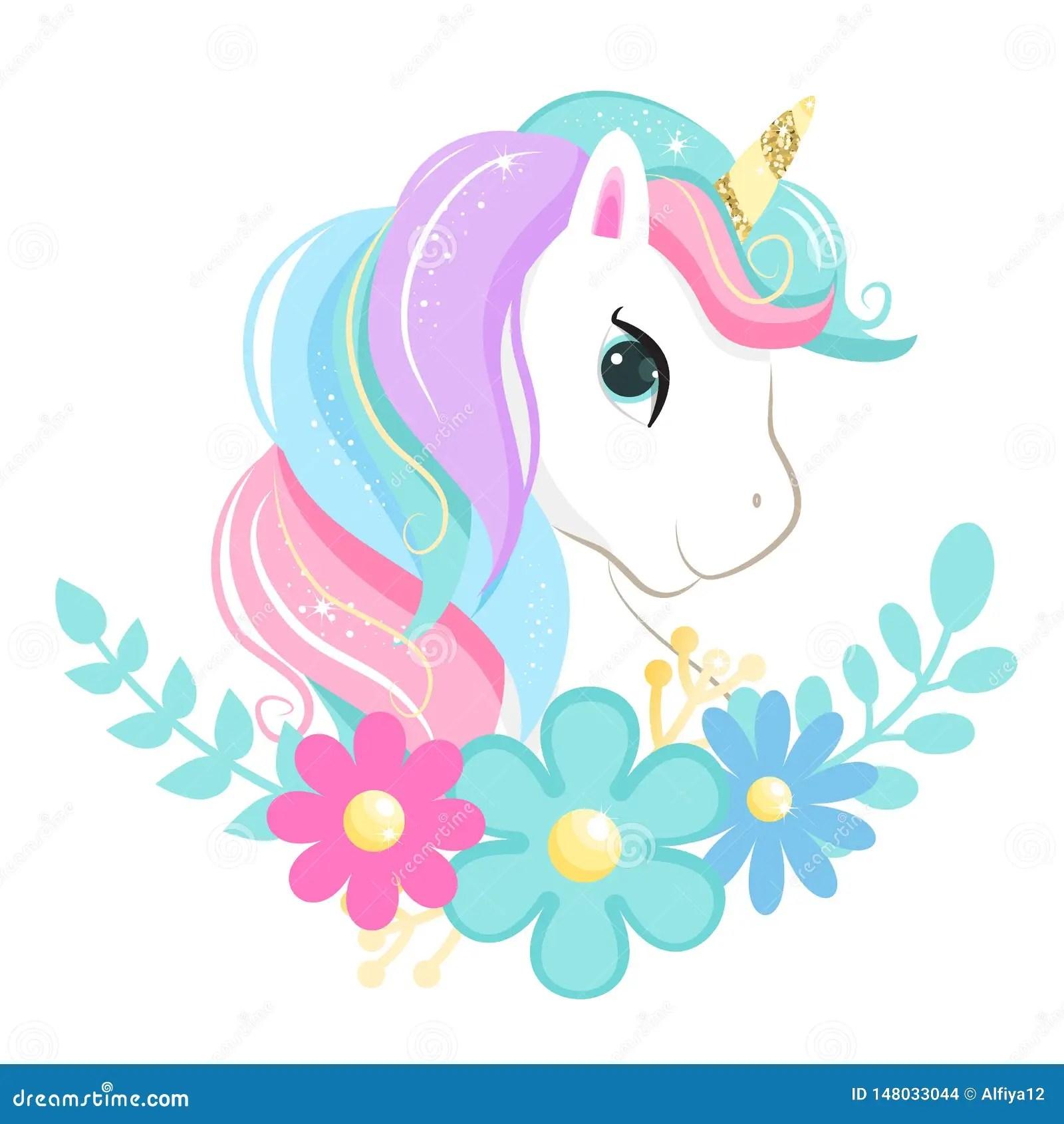 Cute Magic Cartoon Unicorn Head With Flowers Illustration