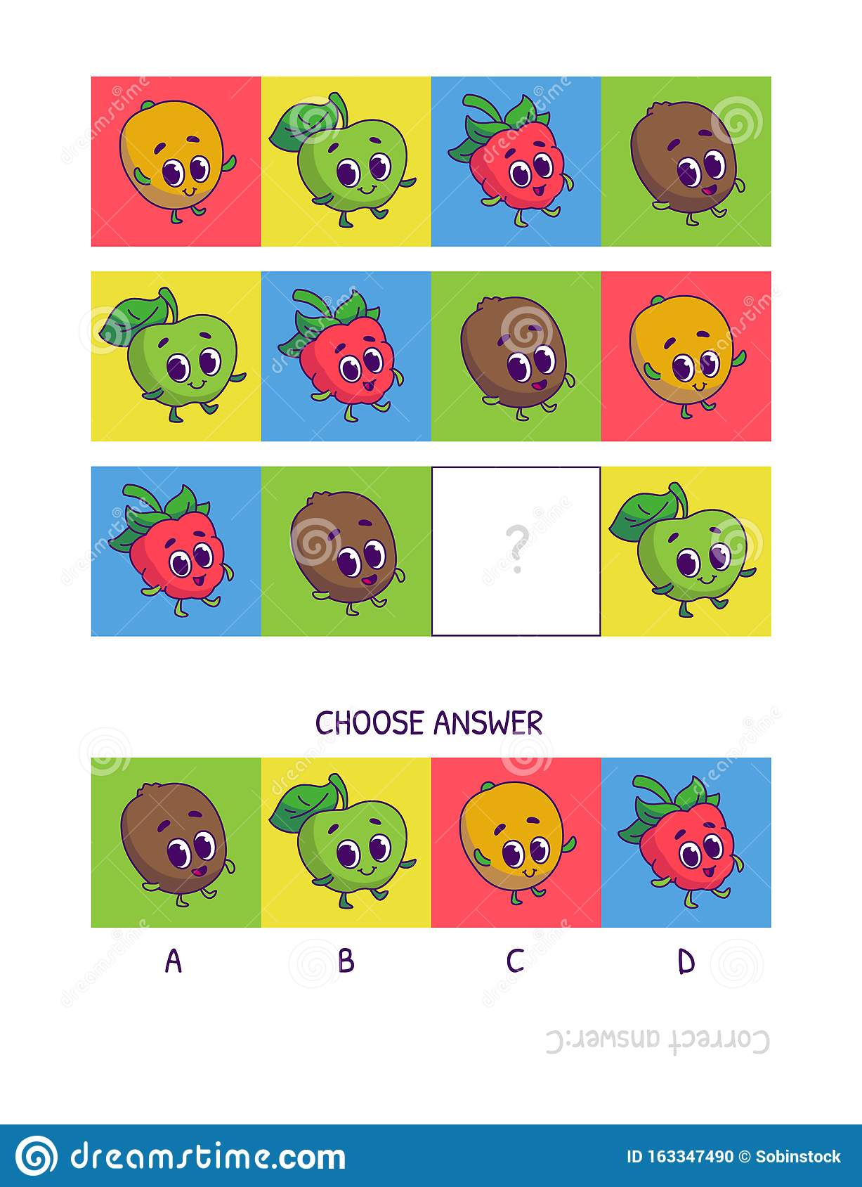 Cute Mango Green Apple Raspberry Kiwi Logic Game For