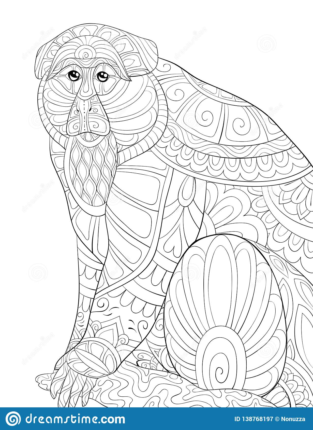 Adult Coloring Book Page A Cute Monkey On The Brunch Image For Relaxing Zen Art Style Illustration Stock Vector Illustration Of Elements Curves 138768197