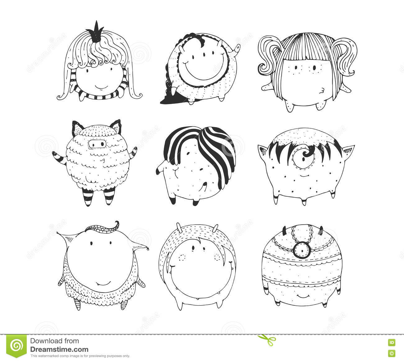 Collection Of Lovely Baby Japanese Oriental Food Doodle Icon Royalty Free Stock Photography