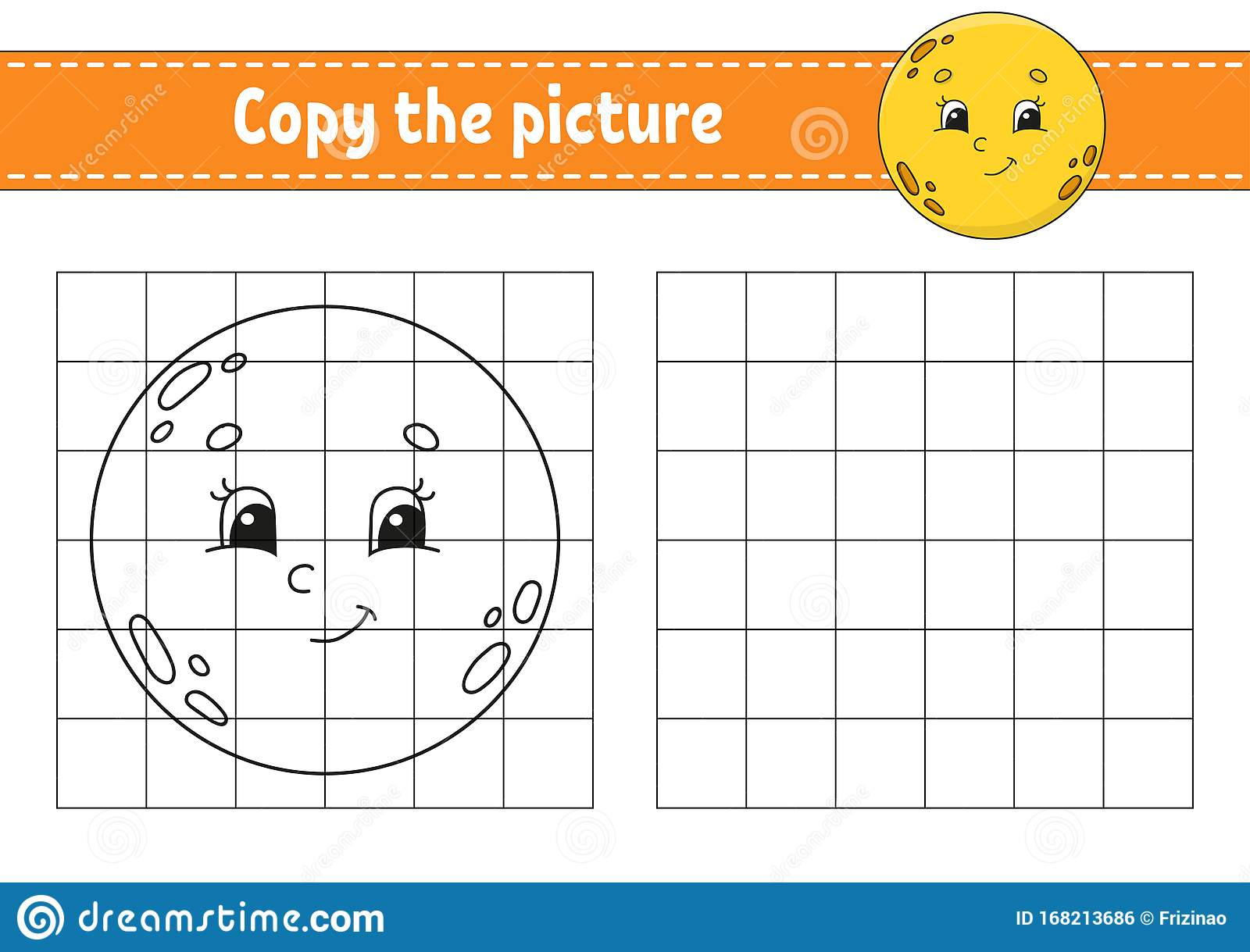 Cute Moon Copy The Picture Coloring Book Pages For Kids