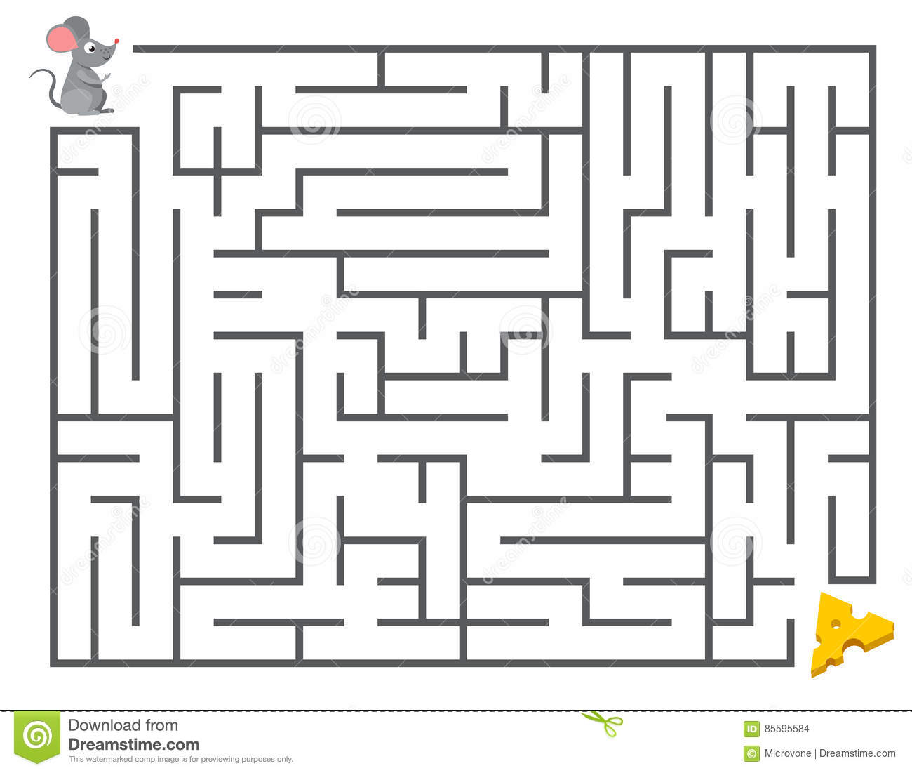 Cute Mouse Searching Cheese Kids Maze Puzzle Labyrinth