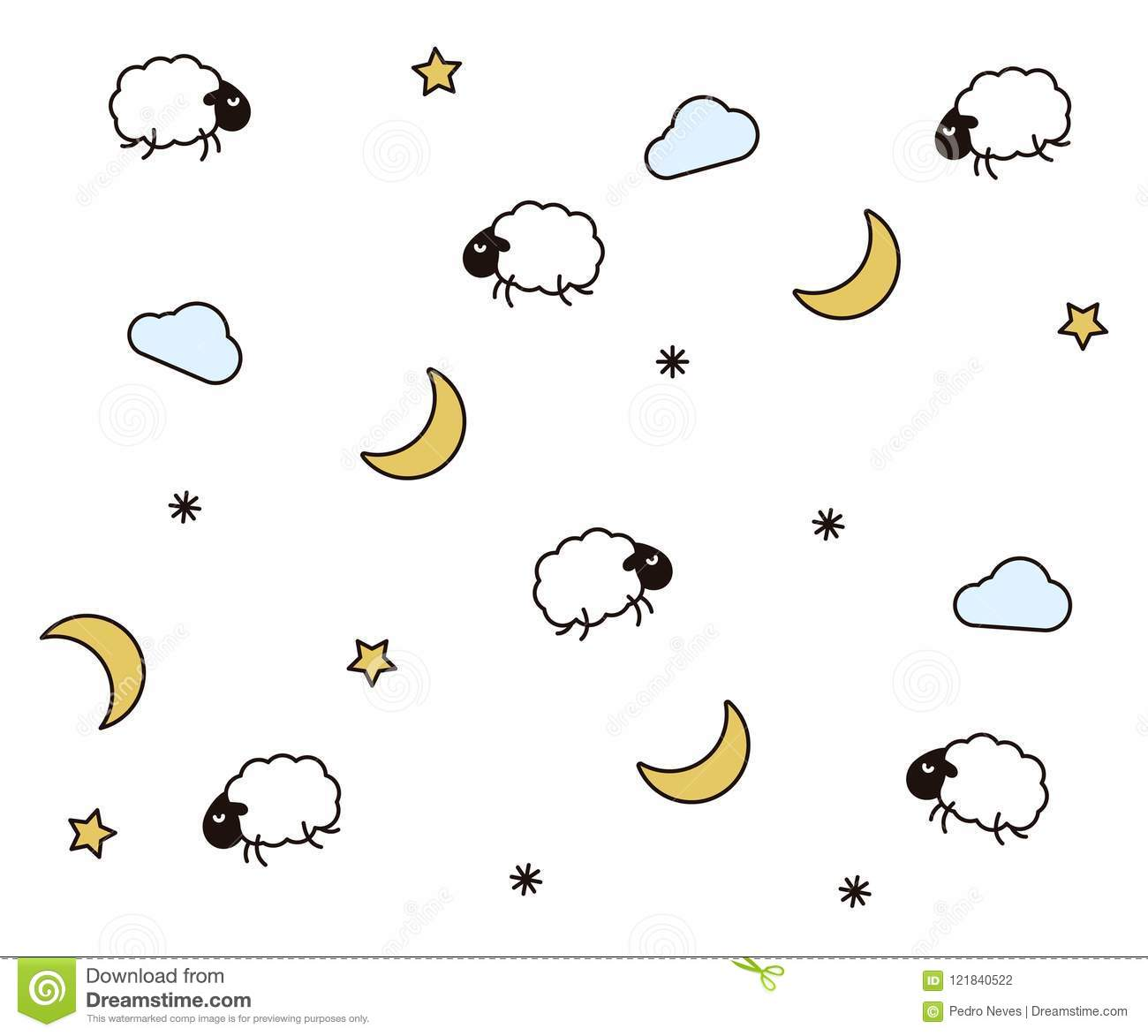Cute Night Seamless Pattern Background For Kids Bedtime