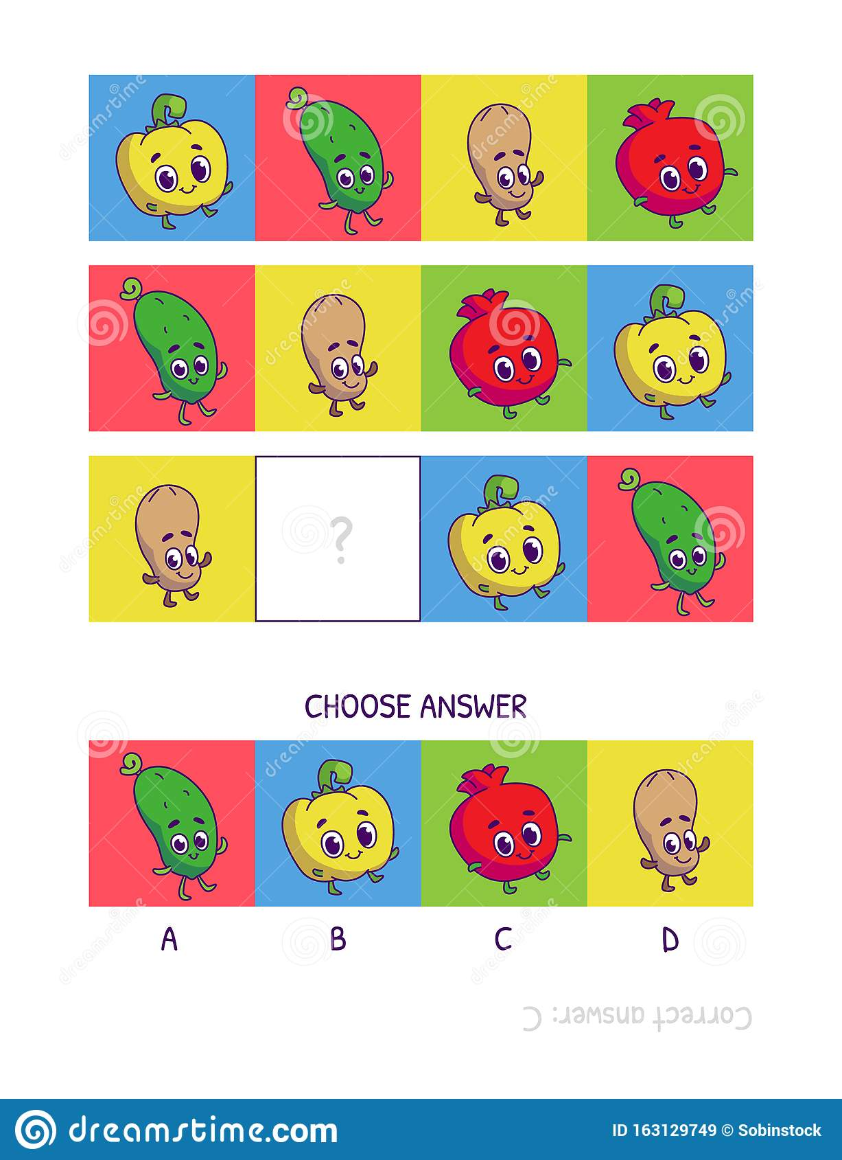 Cute Pepper Cucumber Peanut Pomegranate Logic Game