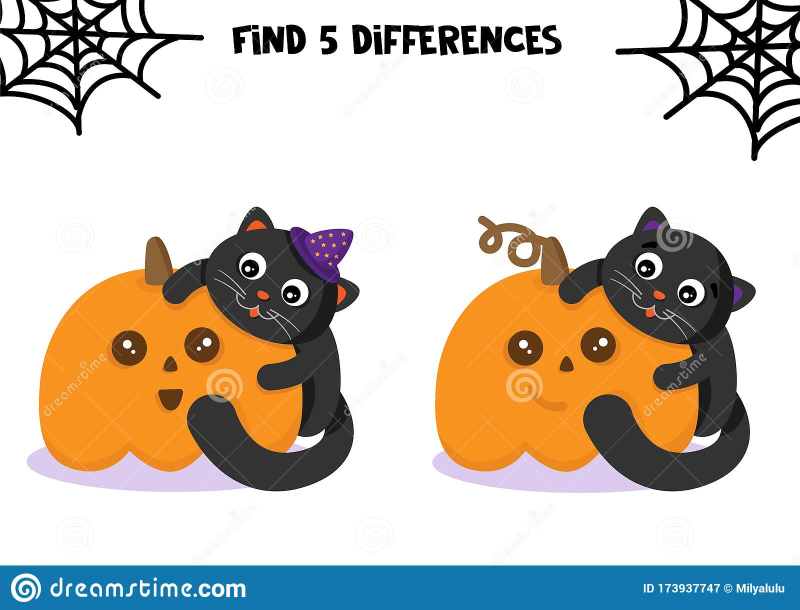Cute Pumpkin And Cat Educational Game For Kids Halloween