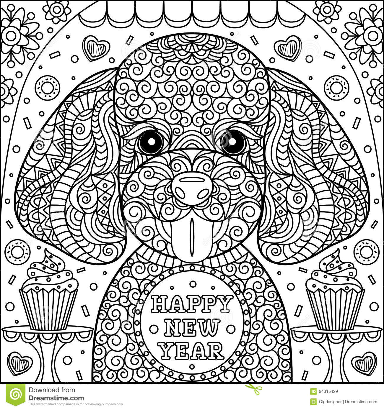 Cute Puppy Coloring Page Stock Vector Illustration Of Cake 94315429