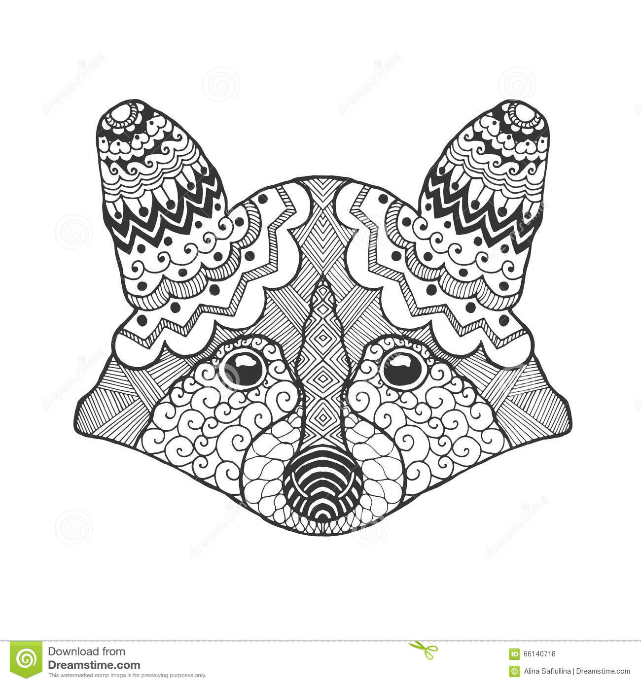 Cute Raccoon Head Stock Vector Image Of Decorative Head