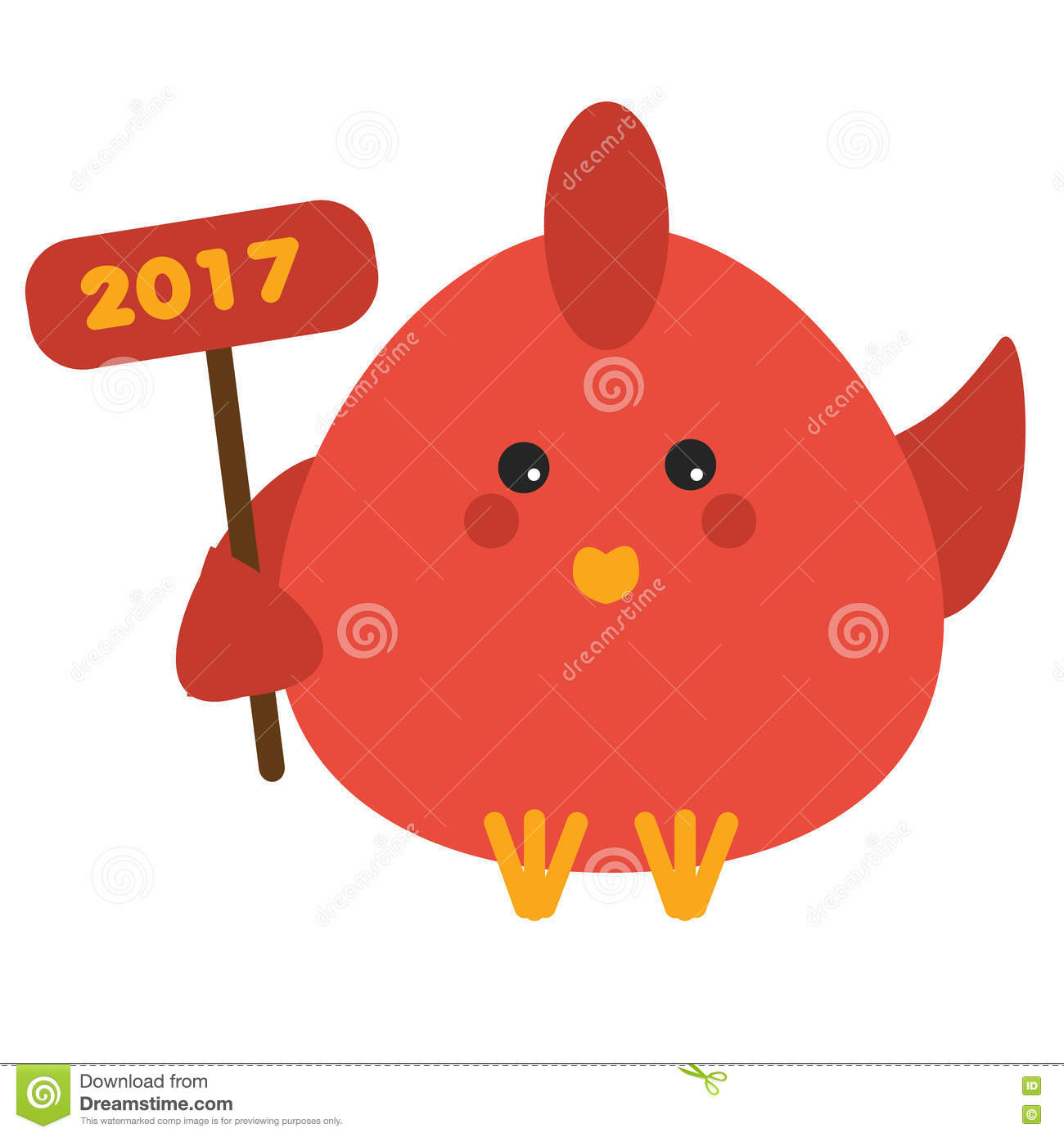 Cute Red Rooster In Cartoon Style  2017 New Year Symbol  Isolated     Download comp