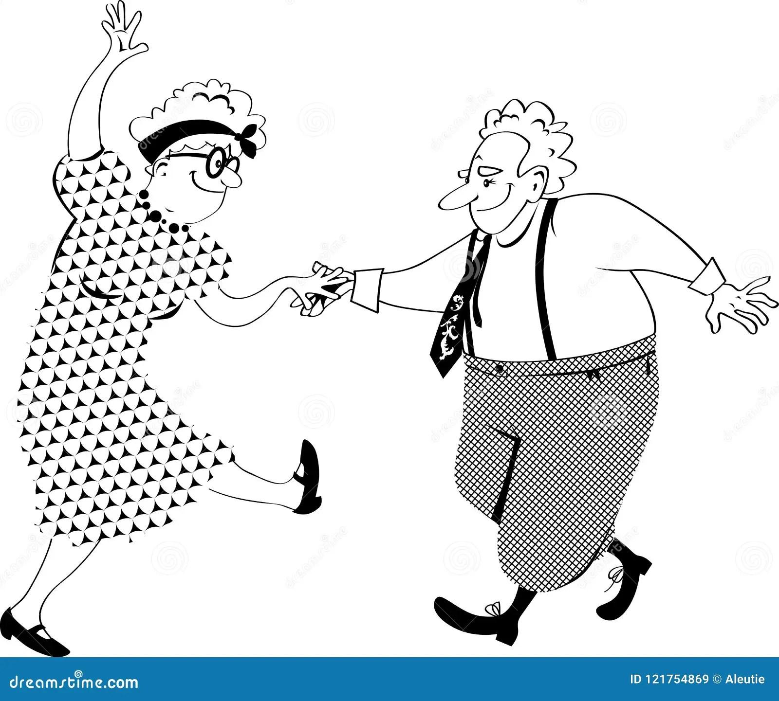 Dancing Old People Clip Art Stock Vector