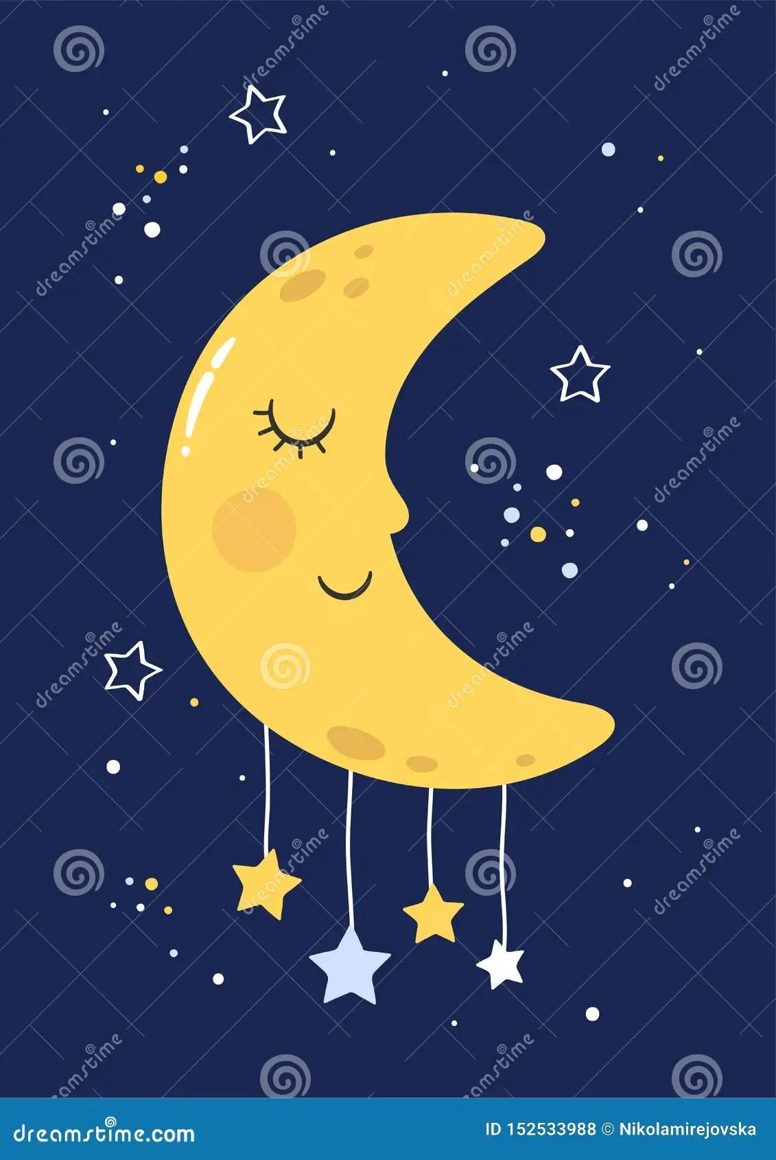 Kids At Night With Moon Cartoon Vector