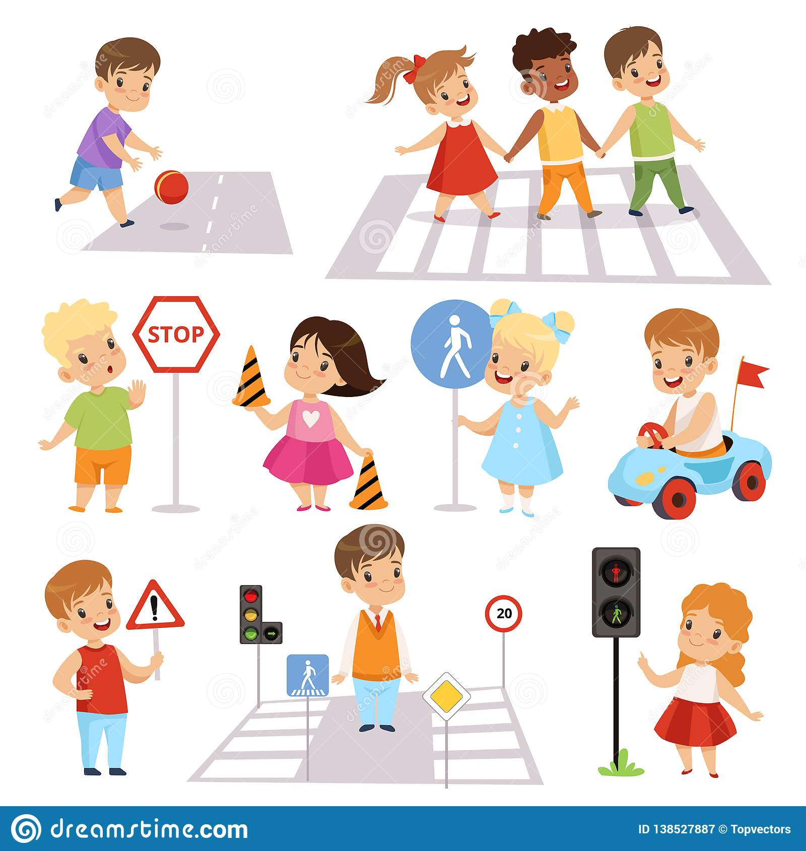 Cute Smiling Boys And Girls Crossing Streets And Learning