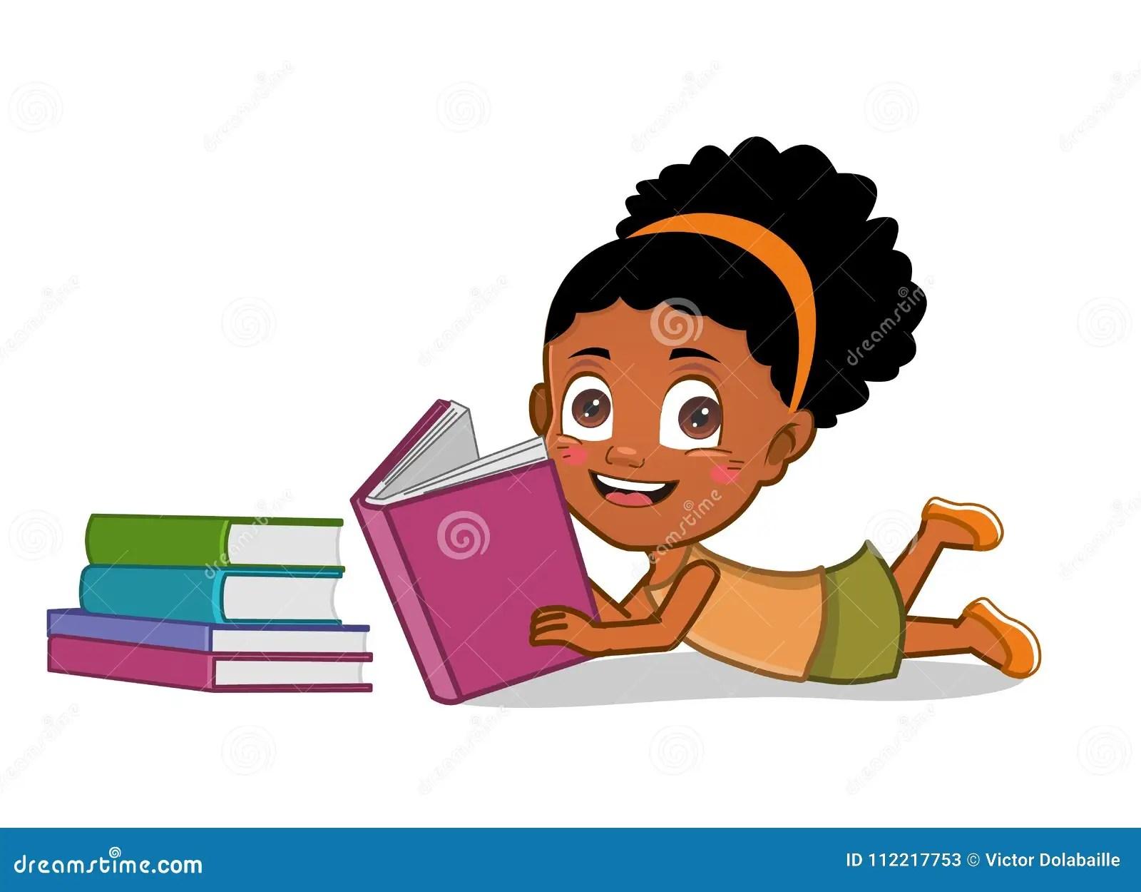 African American Girl Reading Books Stock Illustration