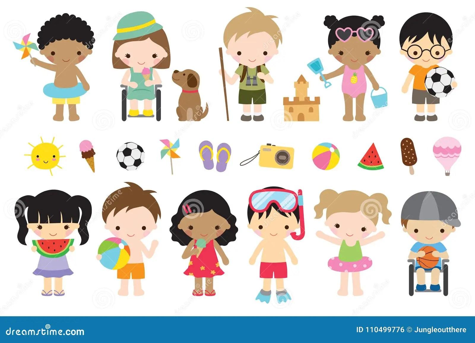 Cute Summer Kids Activities Stock Vector