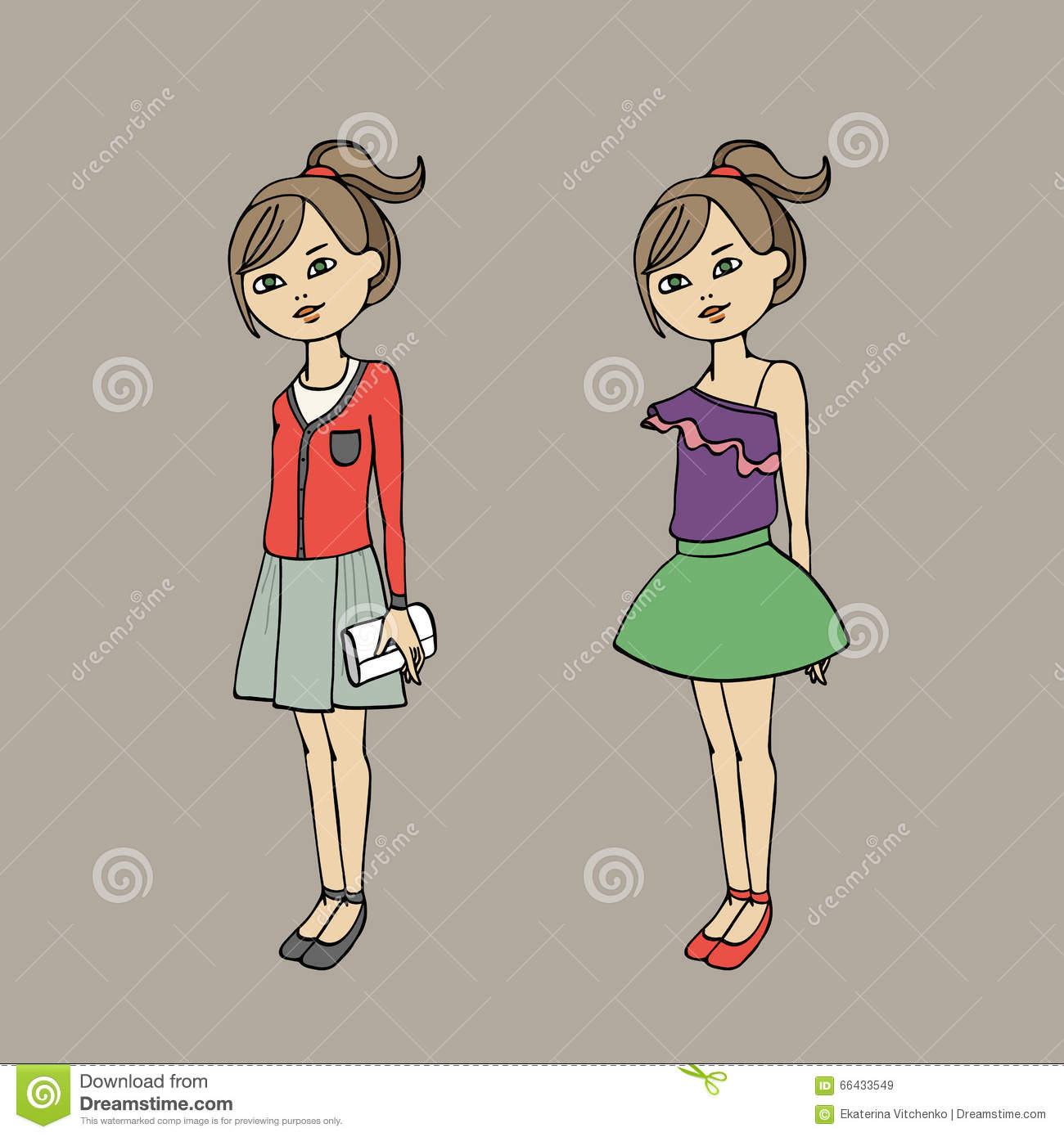 Cute Teen Girl In Two Fashion Outfits Body Template