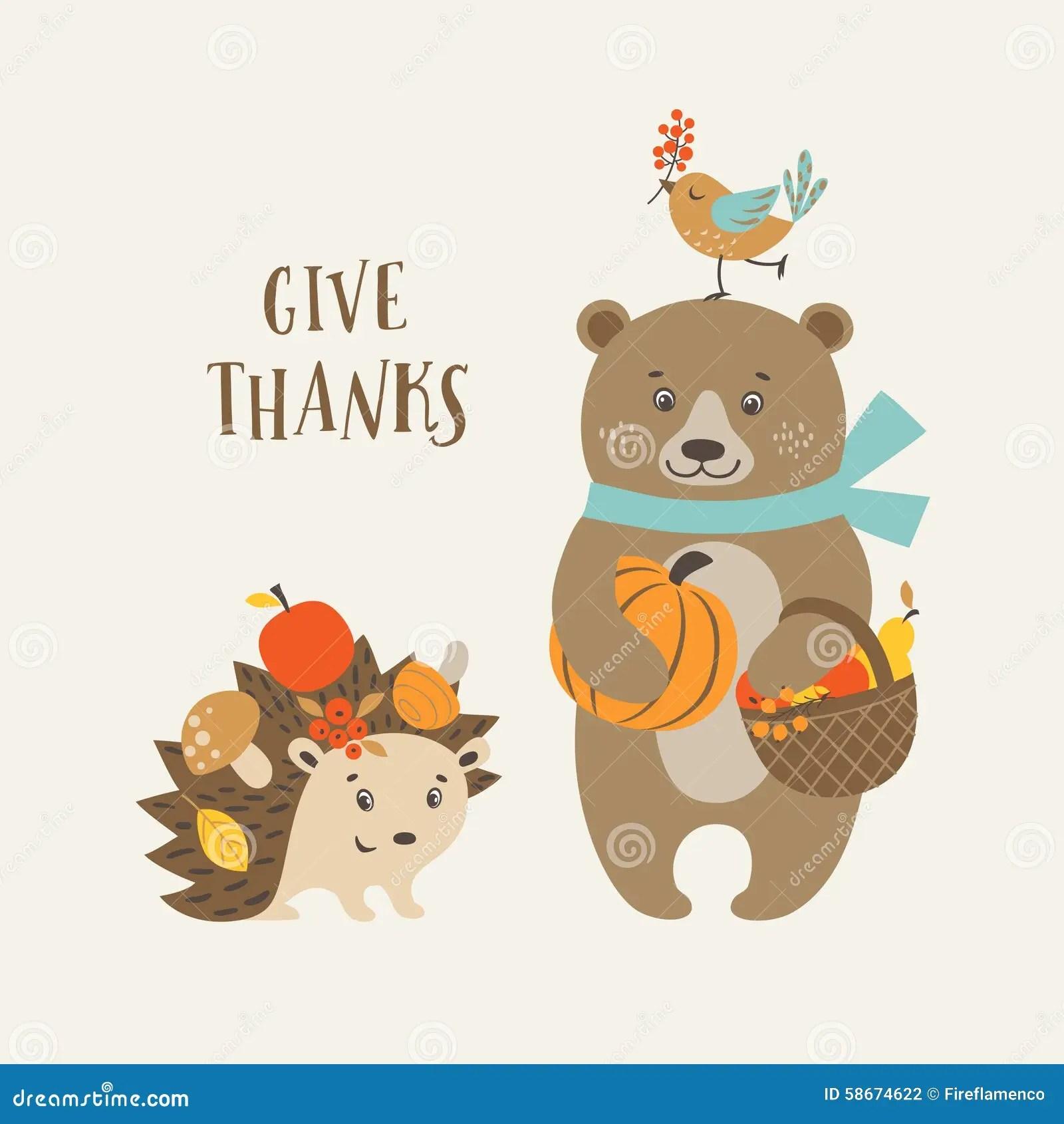 Cute Thanksgiving Card Stock Vector Illustration Of Season 58674622
