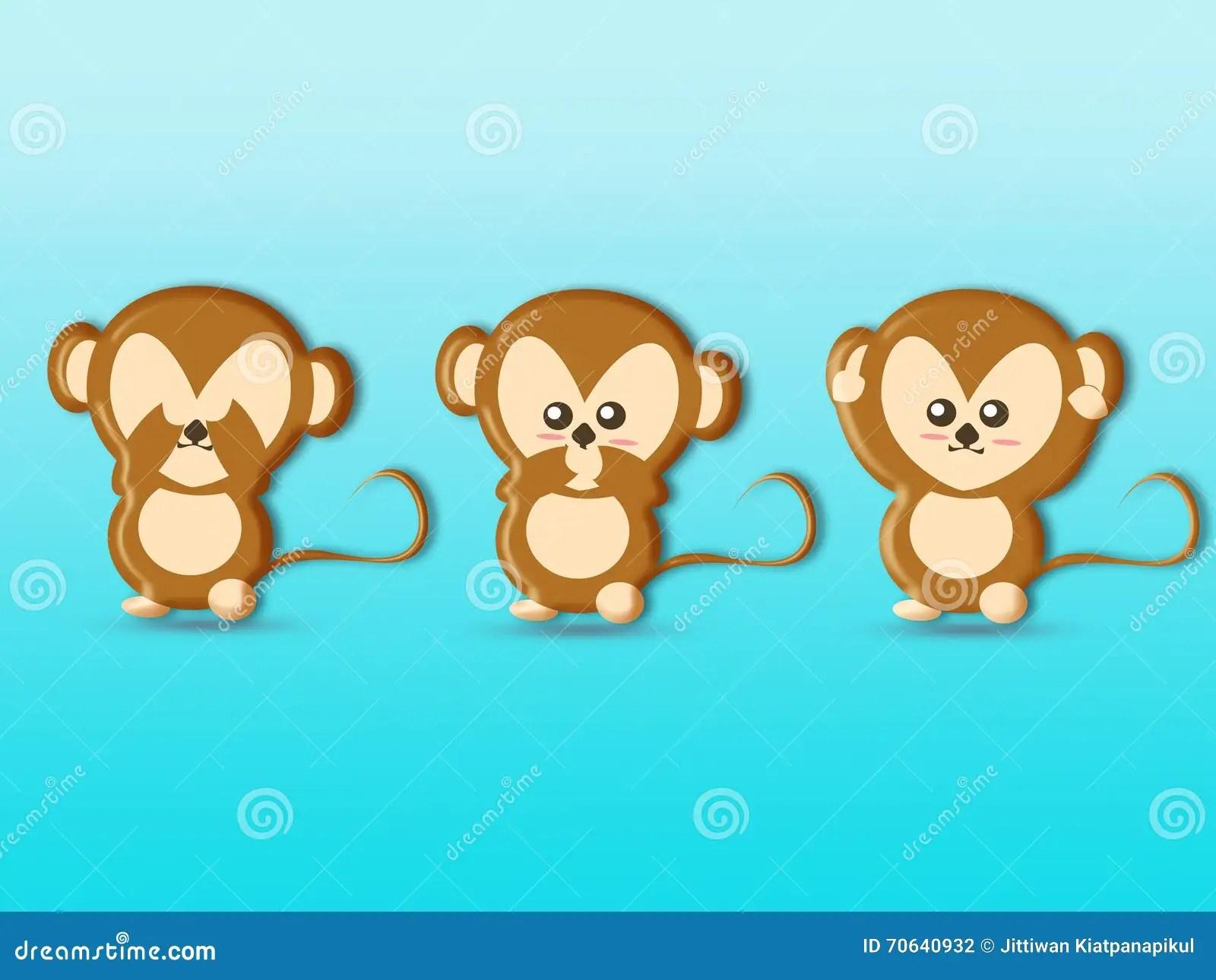 Cute Three Wise Monkeys Cartoons Background Royalty Free
