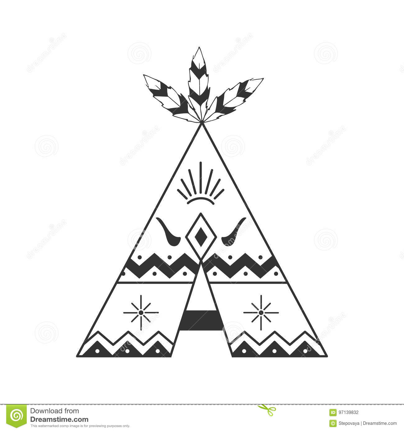 Cute Tipi Illustration On White With Feathers And Indian