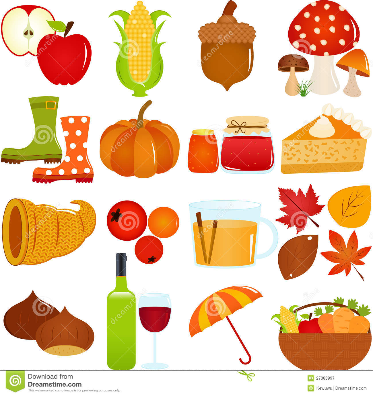 Cute Vector Icons Autumn Fall Theme Royalty Free Stock