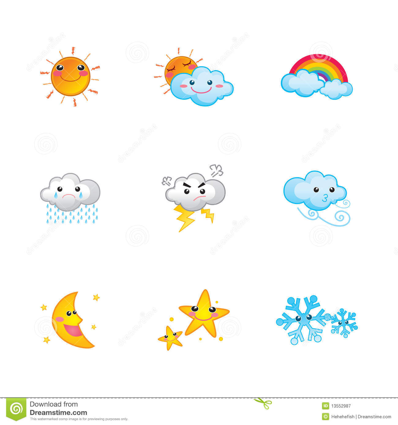 Cute Weather Icons Royalty Free Stock Photography