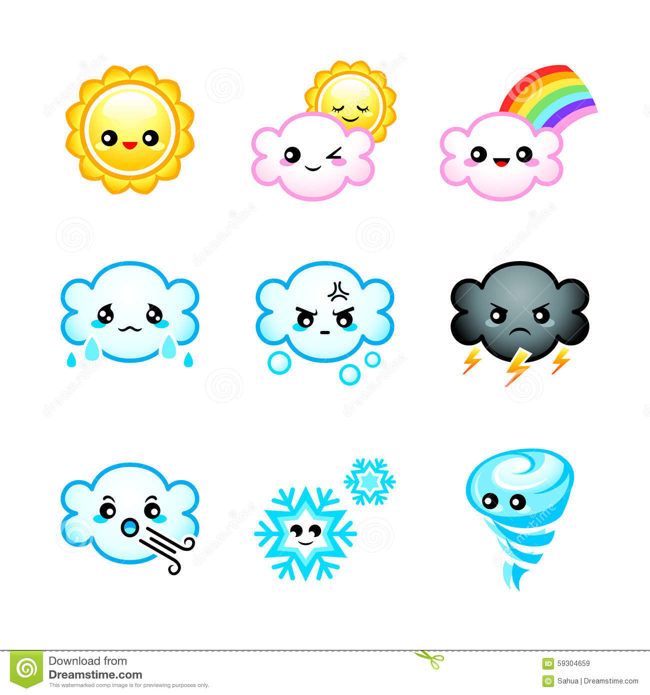 Cute Weather Icons Stock Vector