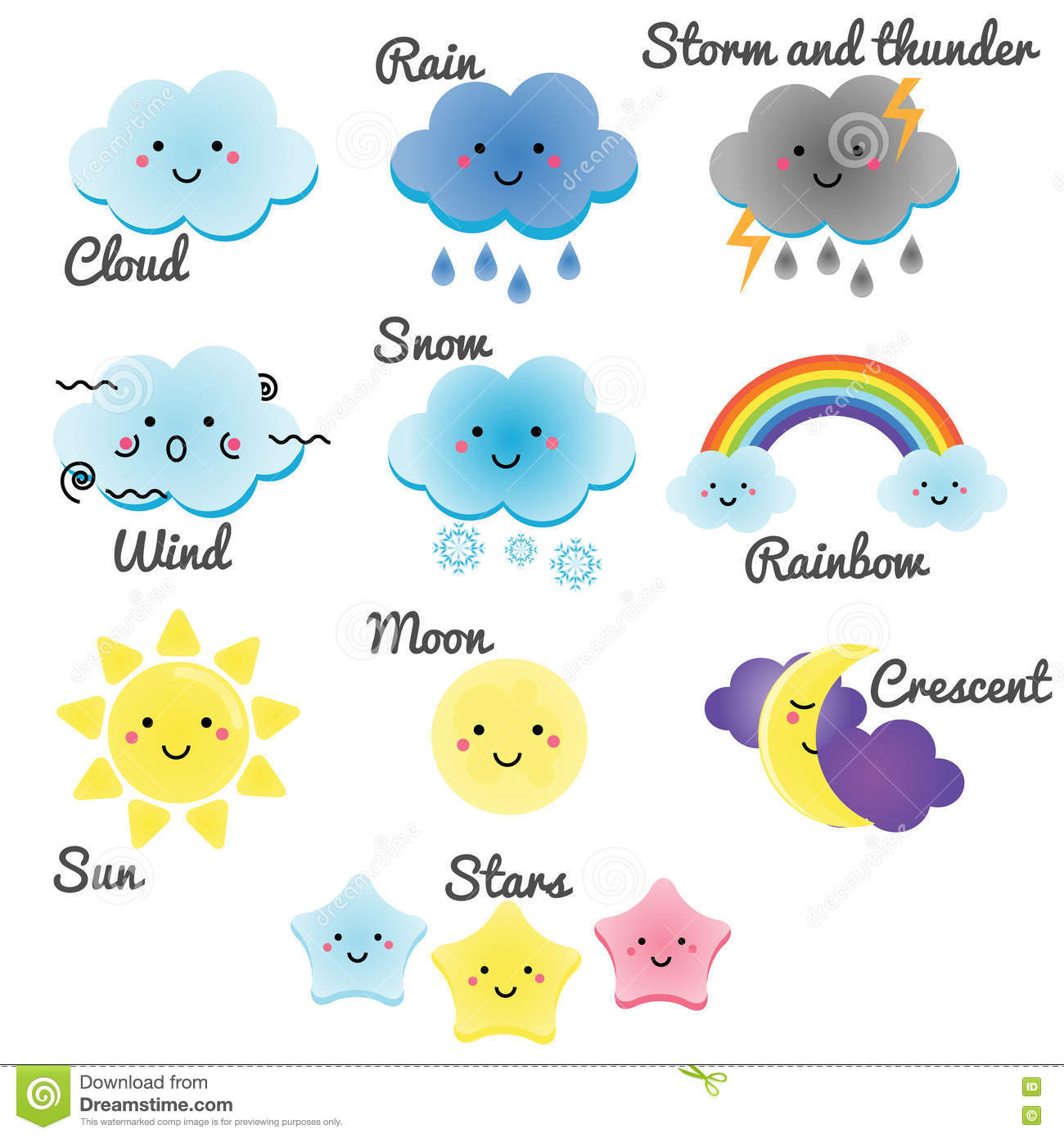 Cute Weather And Sky Elements Kawaii Moon Sun Rain And Clouds Vector Illustration For Kids