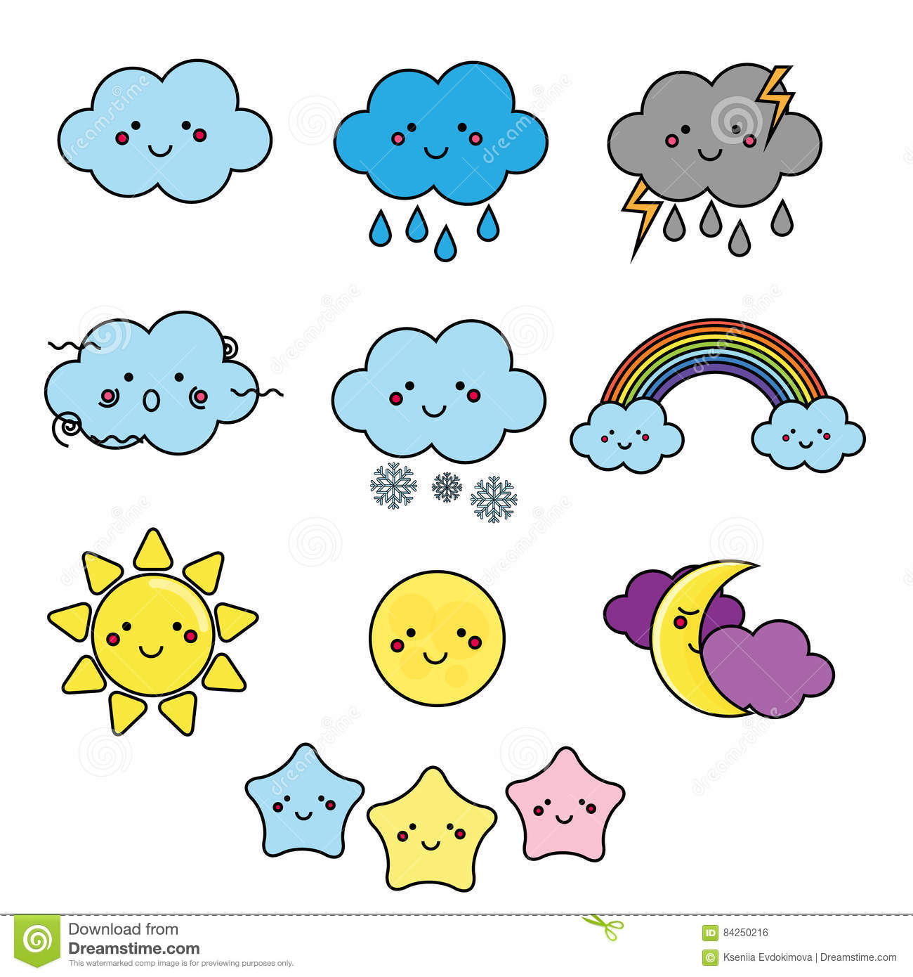 Cute Weather And Sky Elements Kawaii Moon Sun Rain