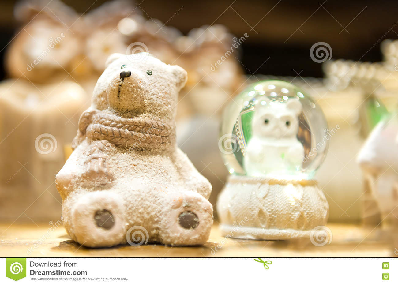 Cute White Christmas Teddy Bear Made Of Porcelain Is On