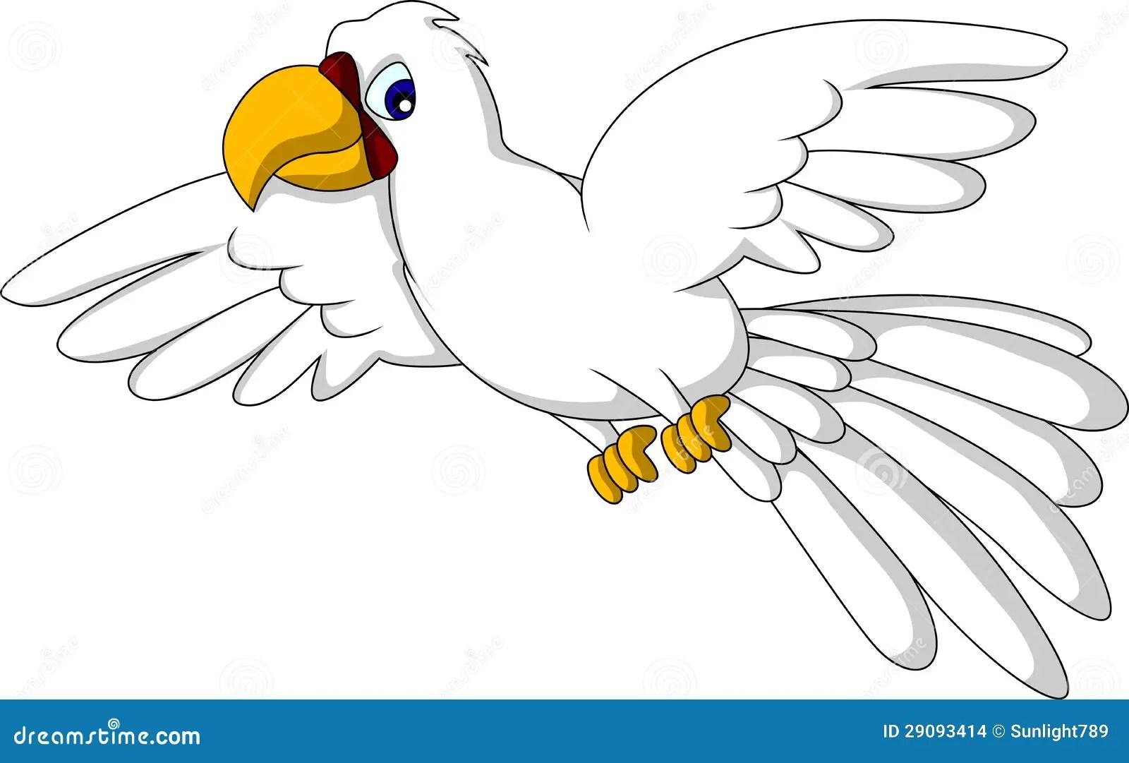 Cute White Parrot Cartoon Flying Stock Illustration