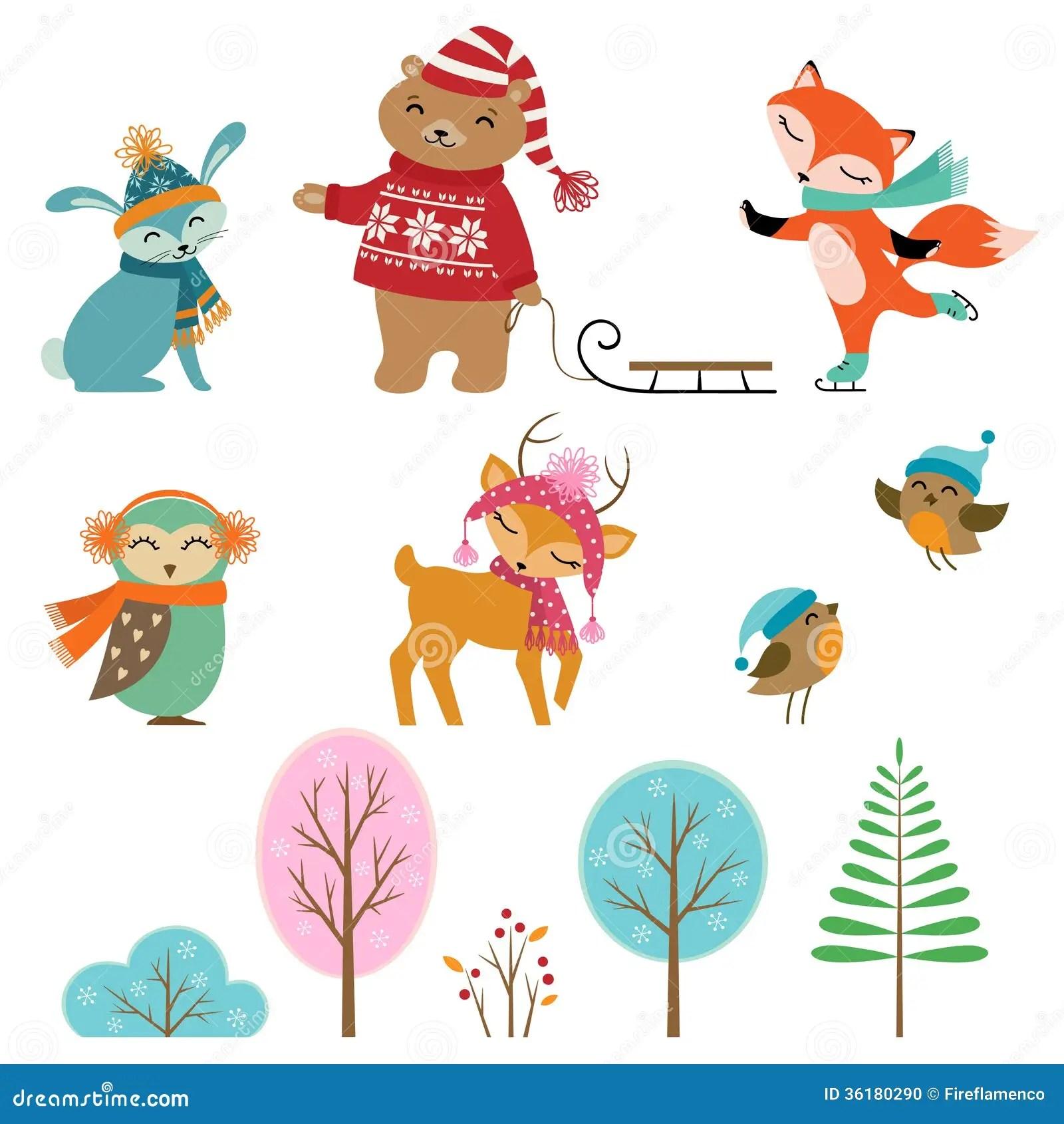 Cute Winter Animals Stock Photo