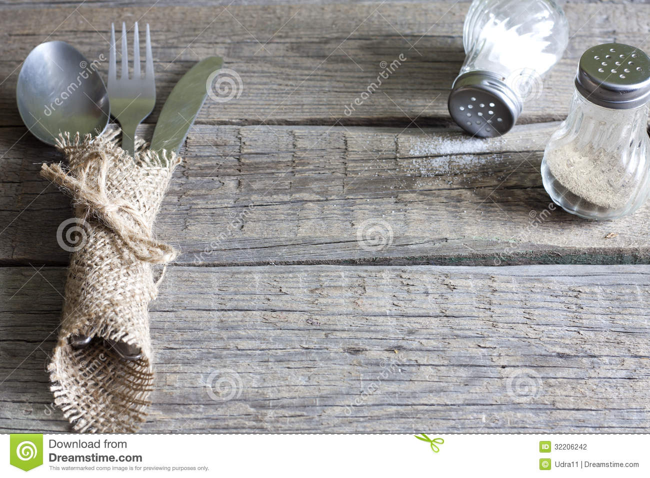 Cutlery Kitchenware On Old Wooden Boards Background Stock