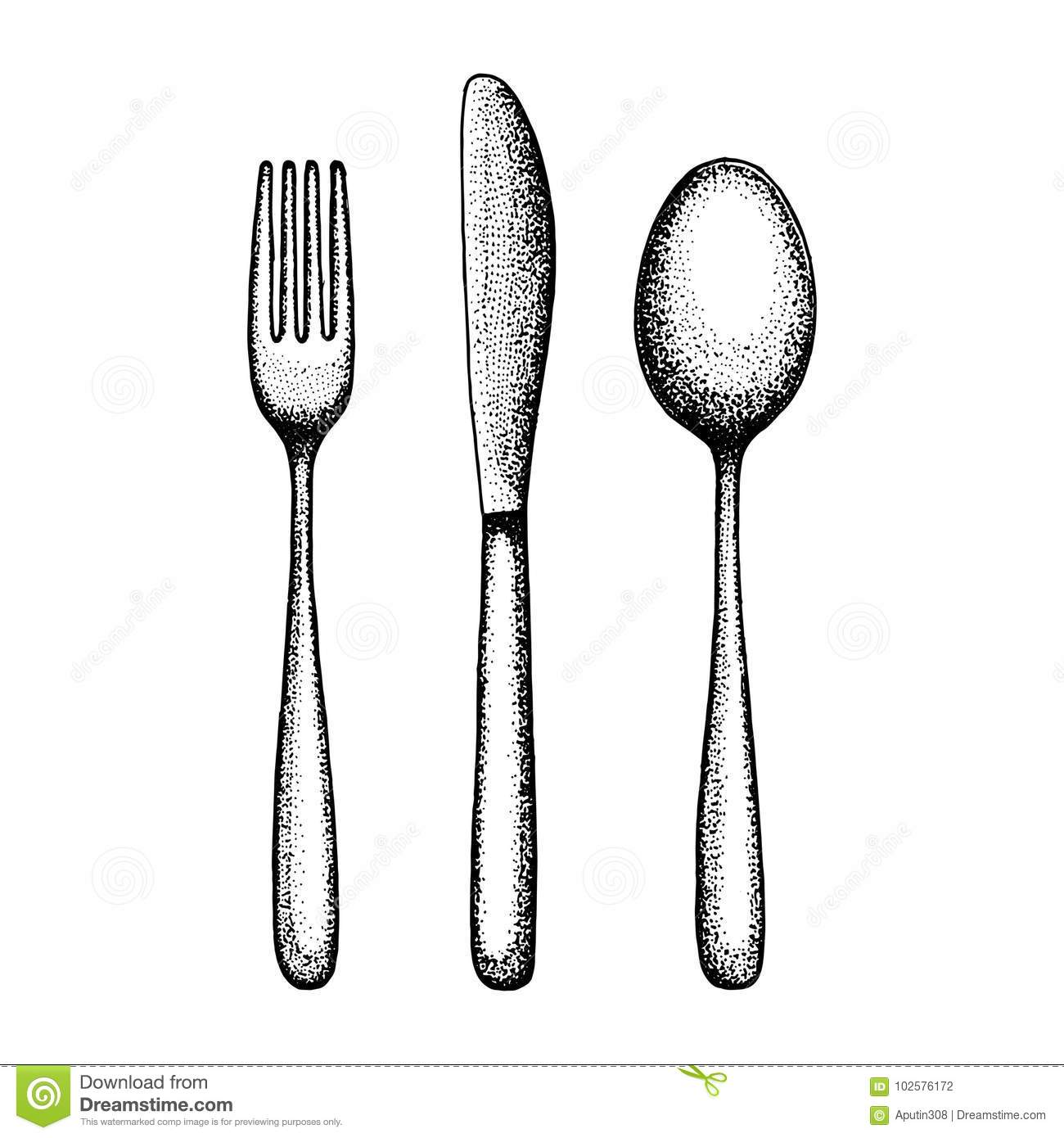 Cutlery Set Sketch Spoon Fork And Knife Vector