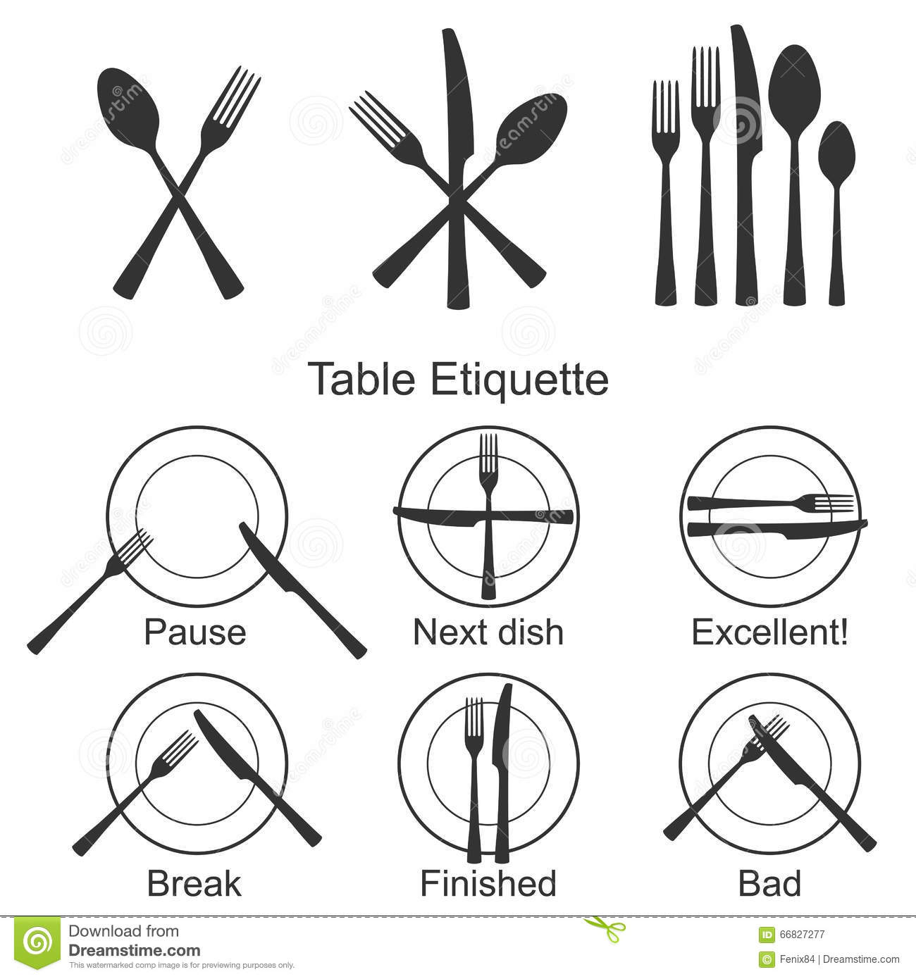 Cutlery And Signs Of Table Etiquette Stock Vector
