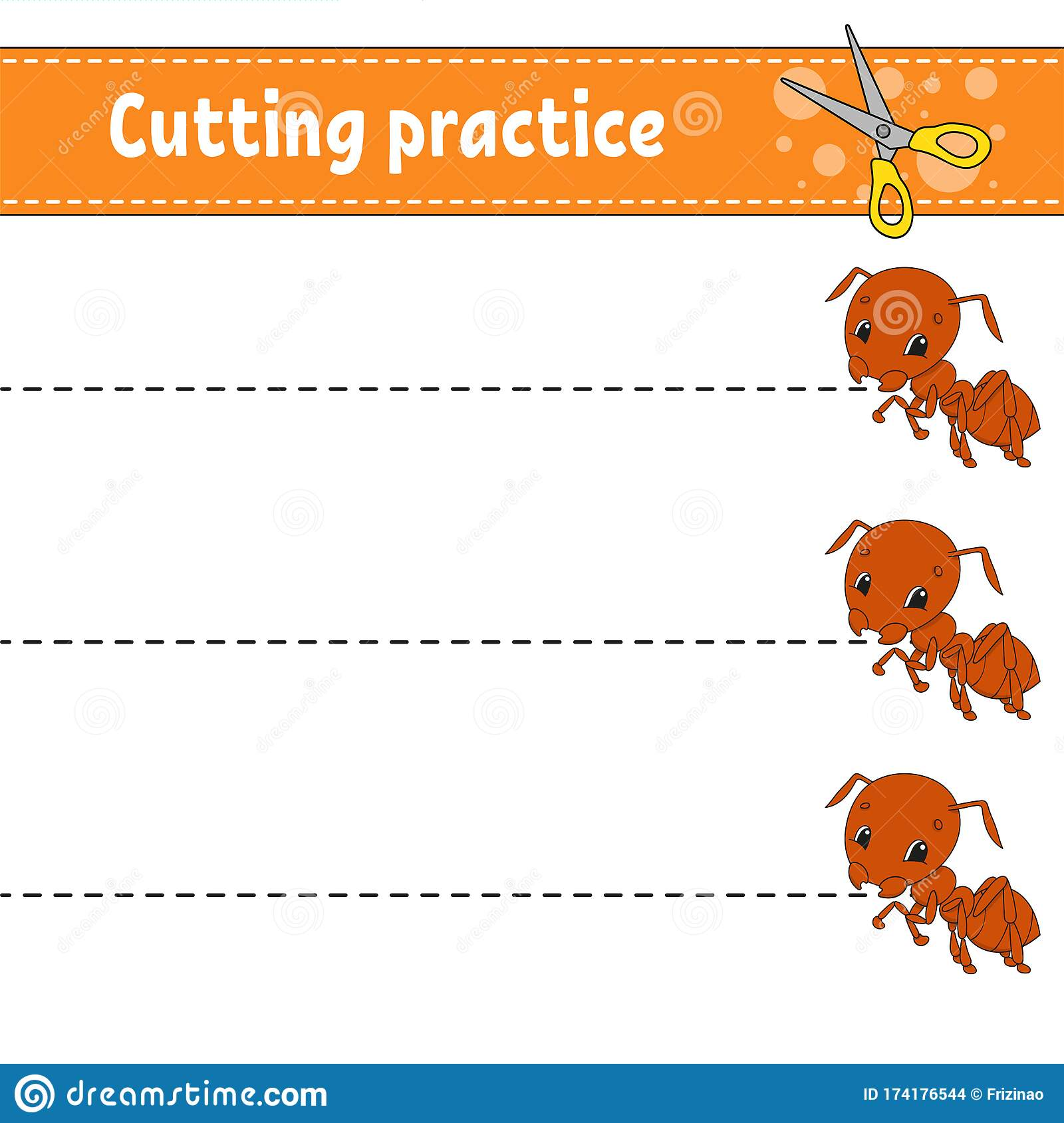 Cutting Practice For Kids Insect Ant Education