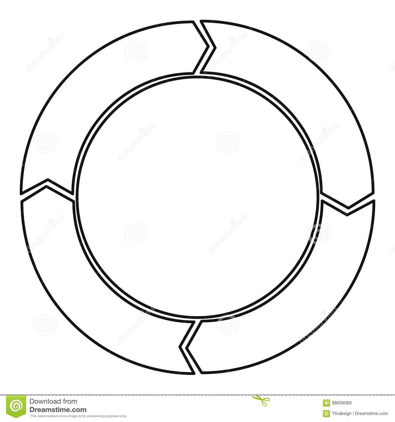 Cycle Circle Diagram Icon Outline Style Stock Vector