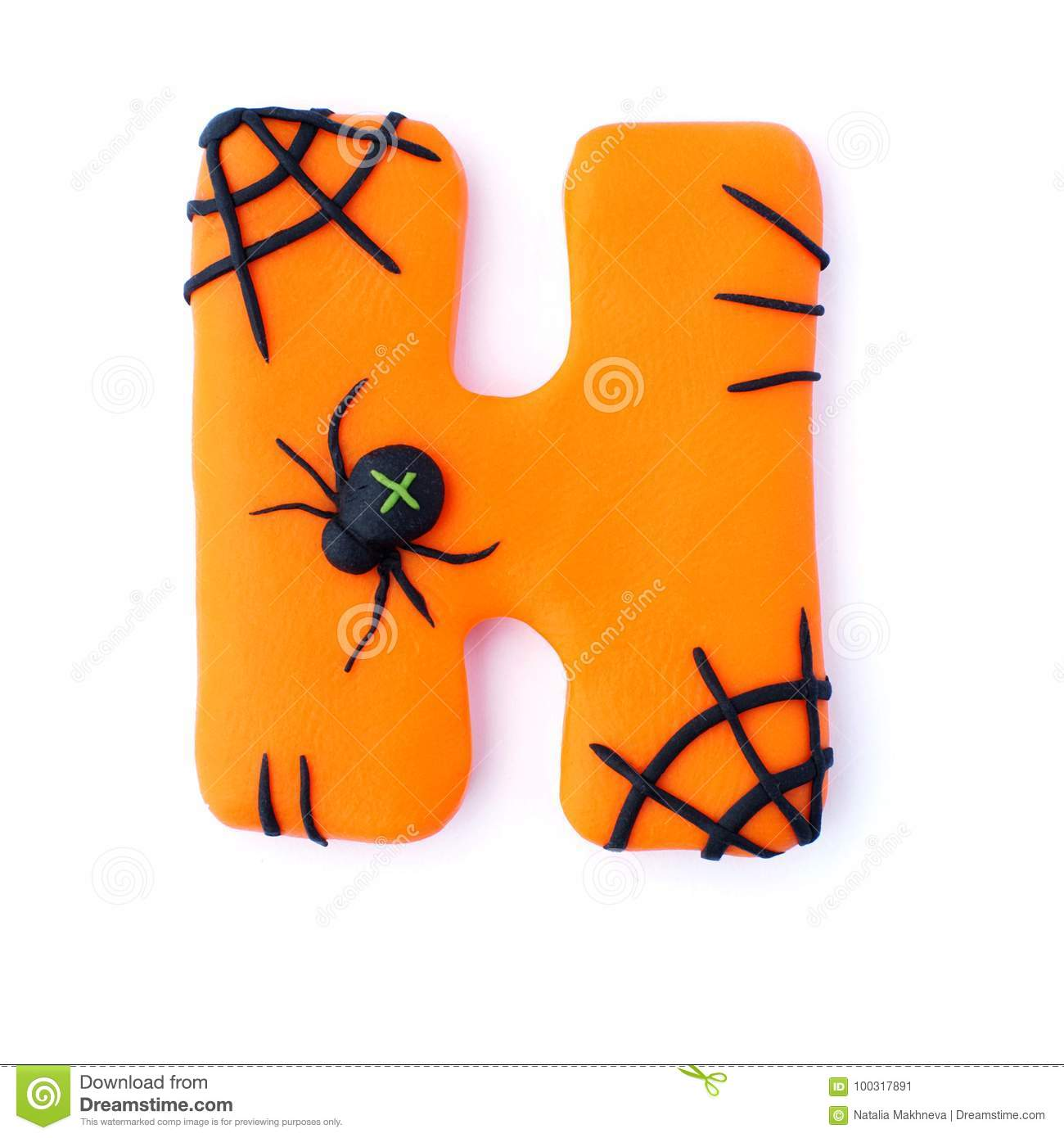Halloween Letter H Spider Stock Image Image Of Isolated