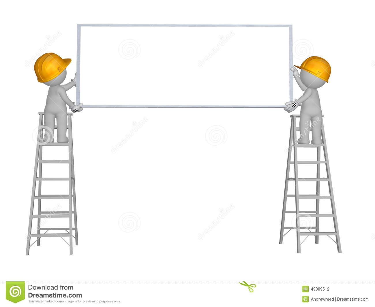 3d Character 2 Men Up Ladder With Blank Sign Wearing