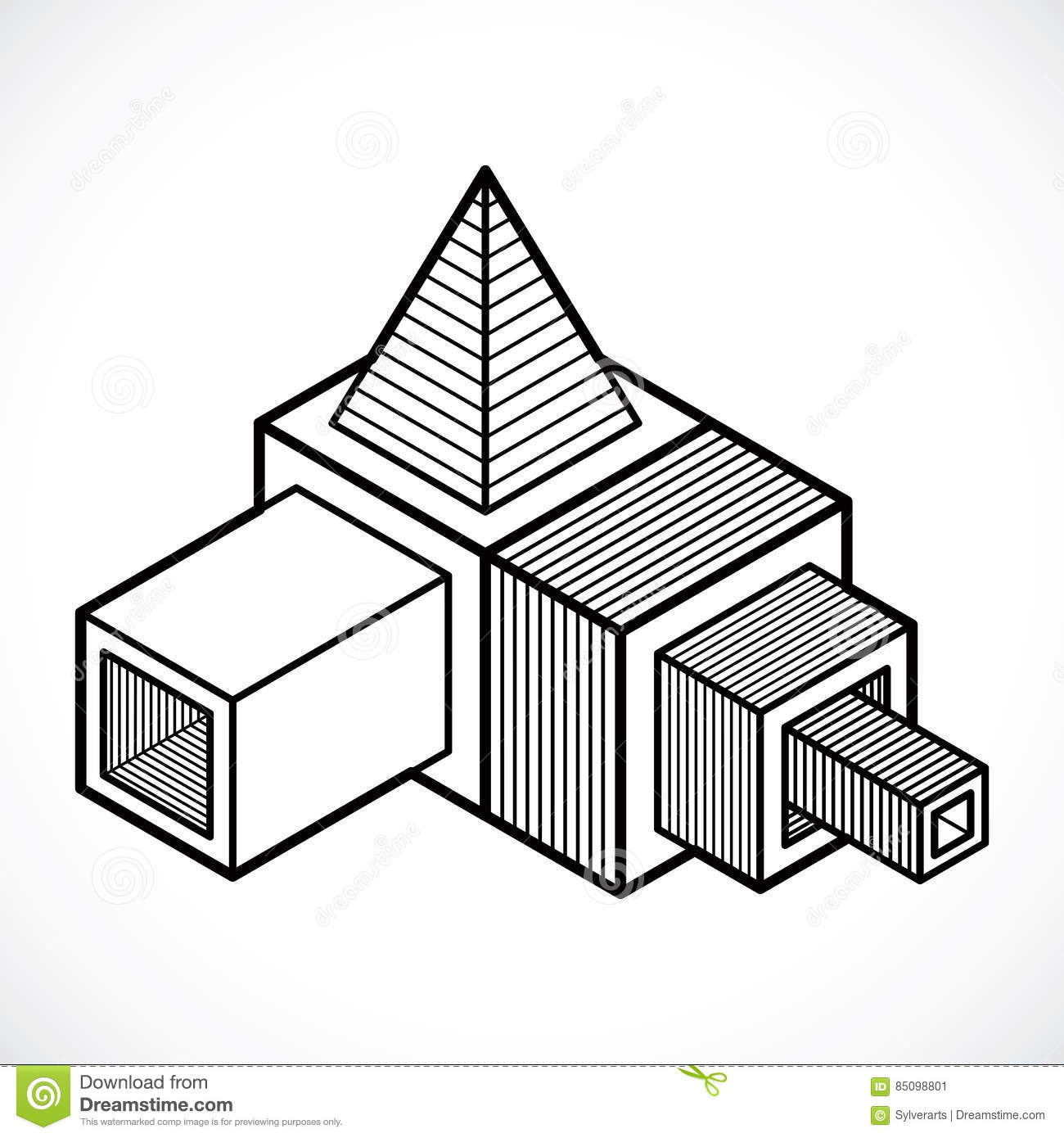 3d Design Abstract Vector Cube Shape Stock Vector