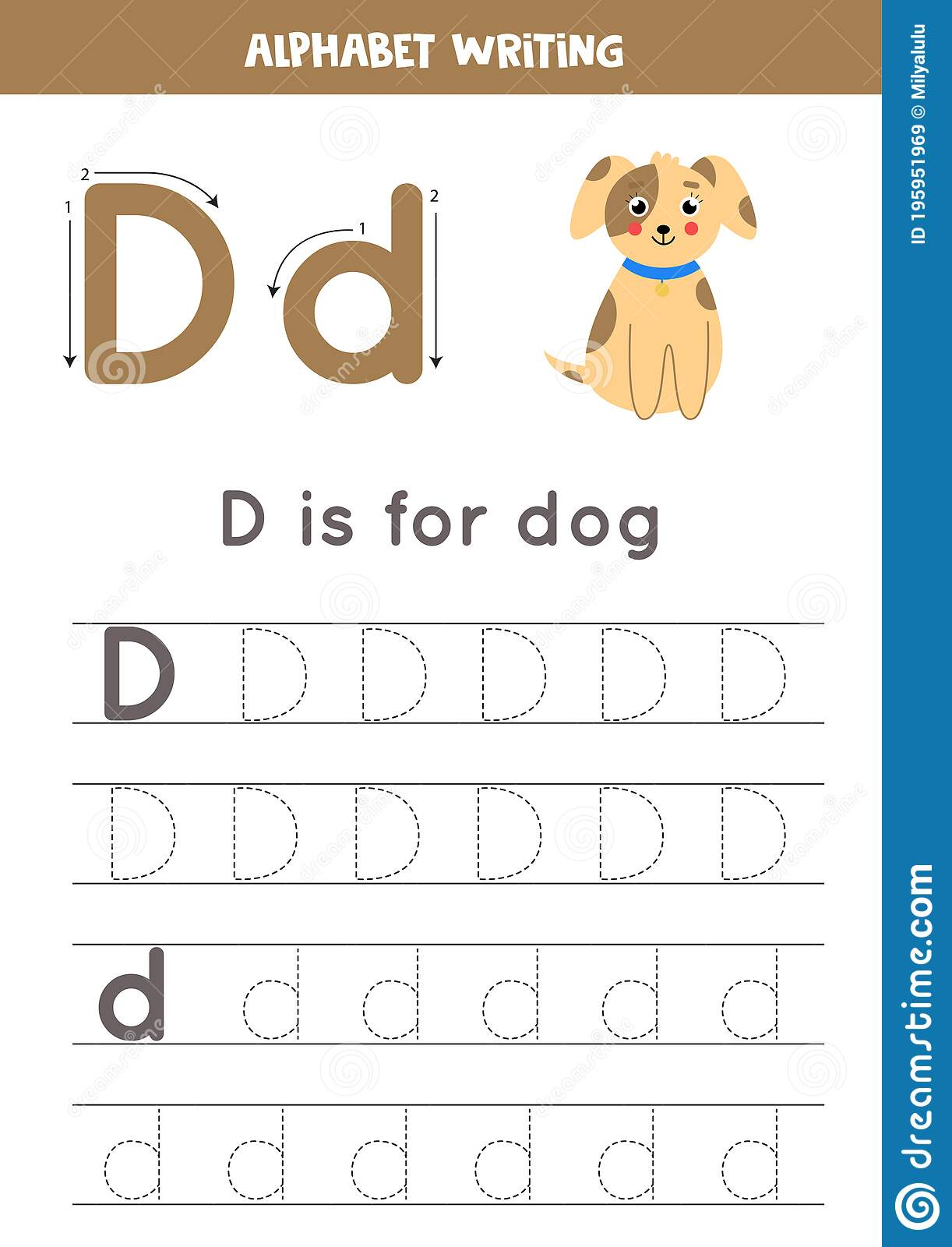 D Is For Dog Tracing English Alphabet Worksheet Stock