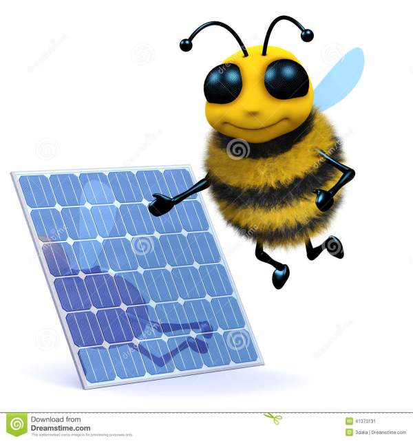 3d Honey bee solar power stock illustration Illustration