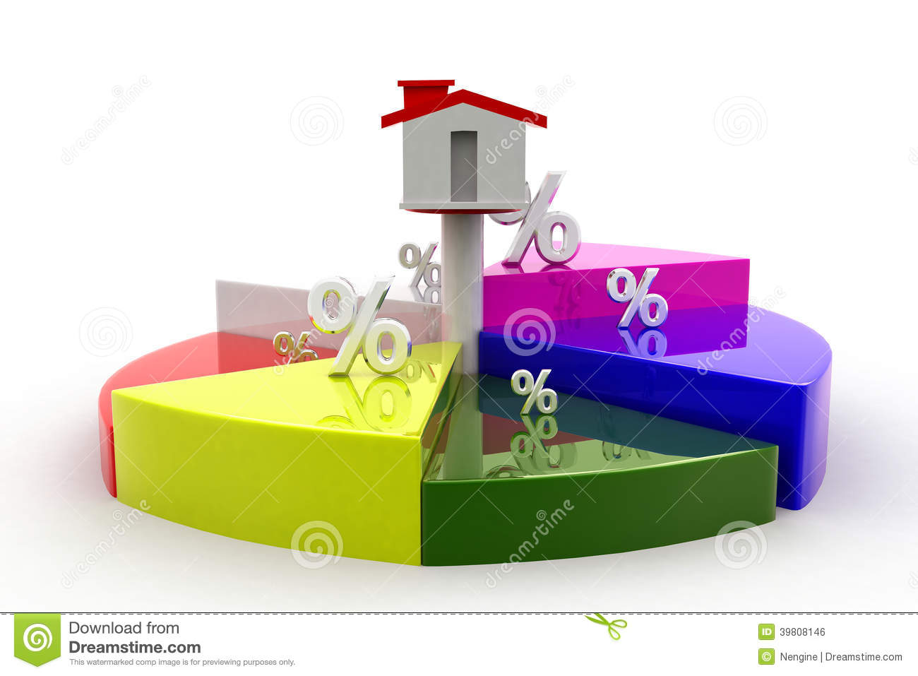 3d House Percentage And Circle Graph Stock Illustration