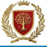 3d Illustration Heraldry Red Coat Of Arms Golden Olive Branch Oak Branch Crown Shield Tree Isolat Stock Illustration Illustration Of Ribbon Blazon 113713028