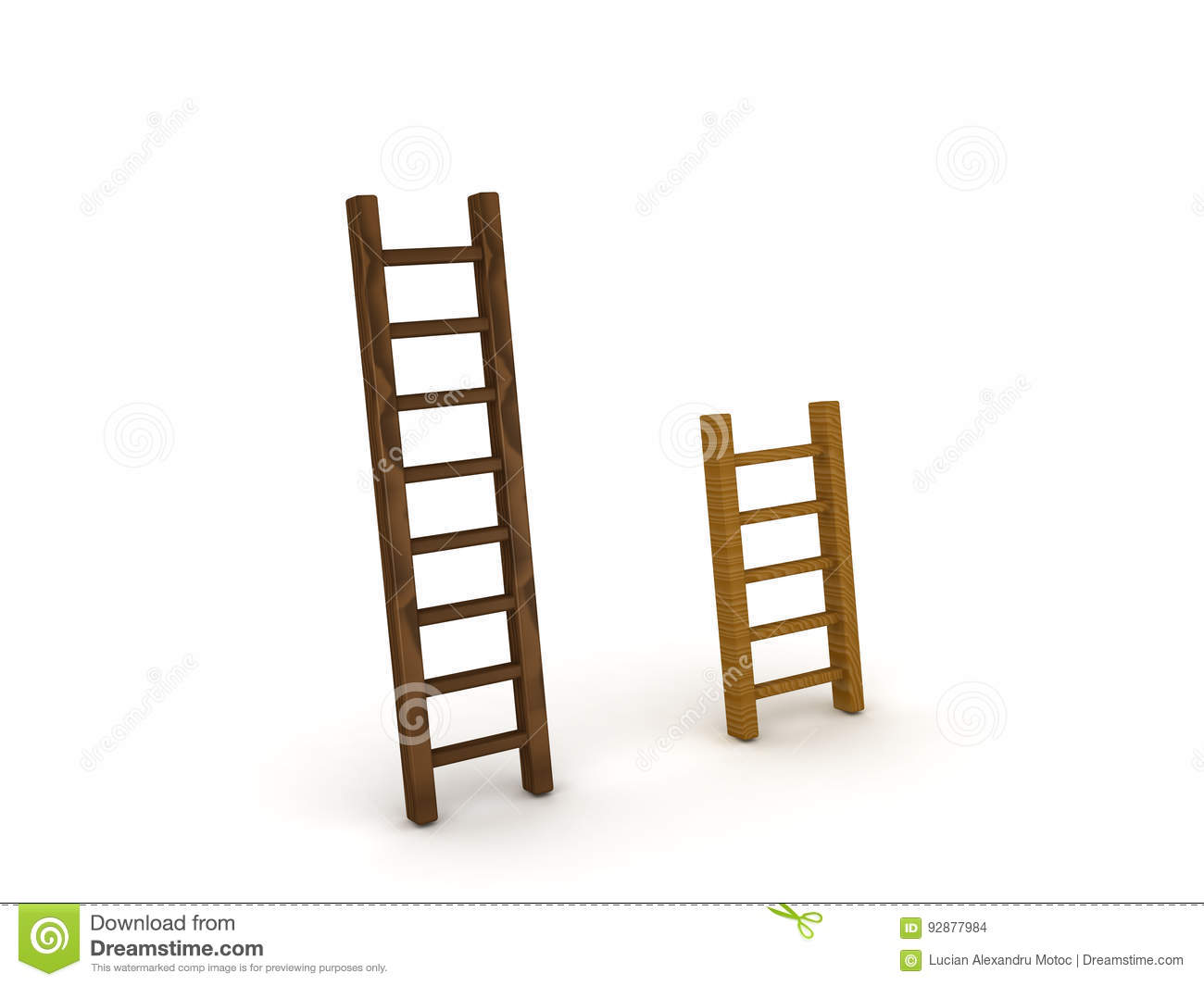 3d Illustration Of A Tall And Short Ladder Royalty Free