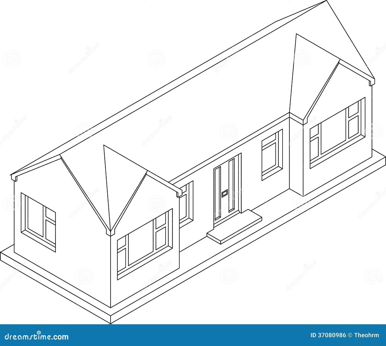 3d Isometric Bungalow Stock Illustration Illustration Of