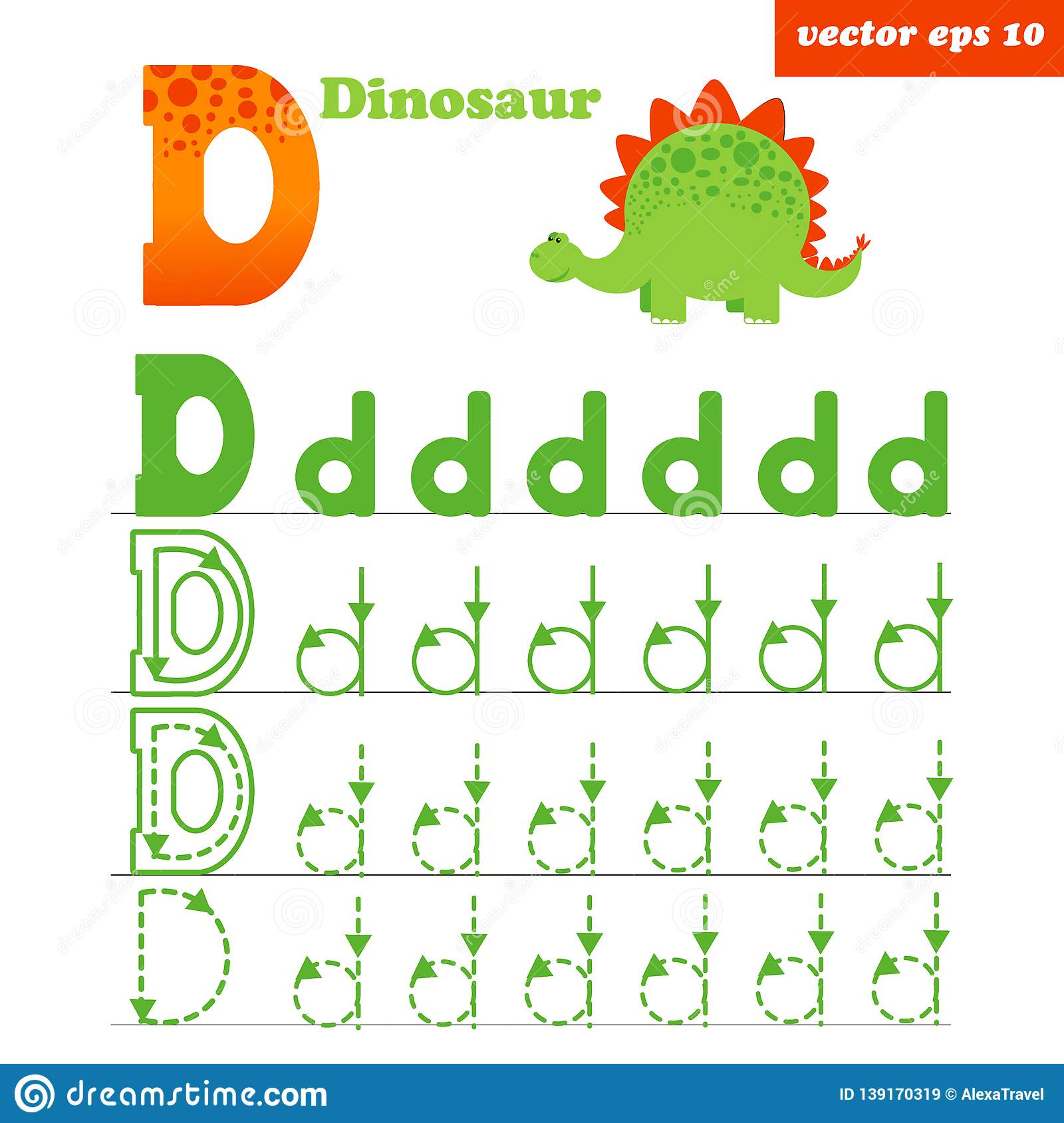 D Letter Worksheet With Funny Dinosour Character Stock
