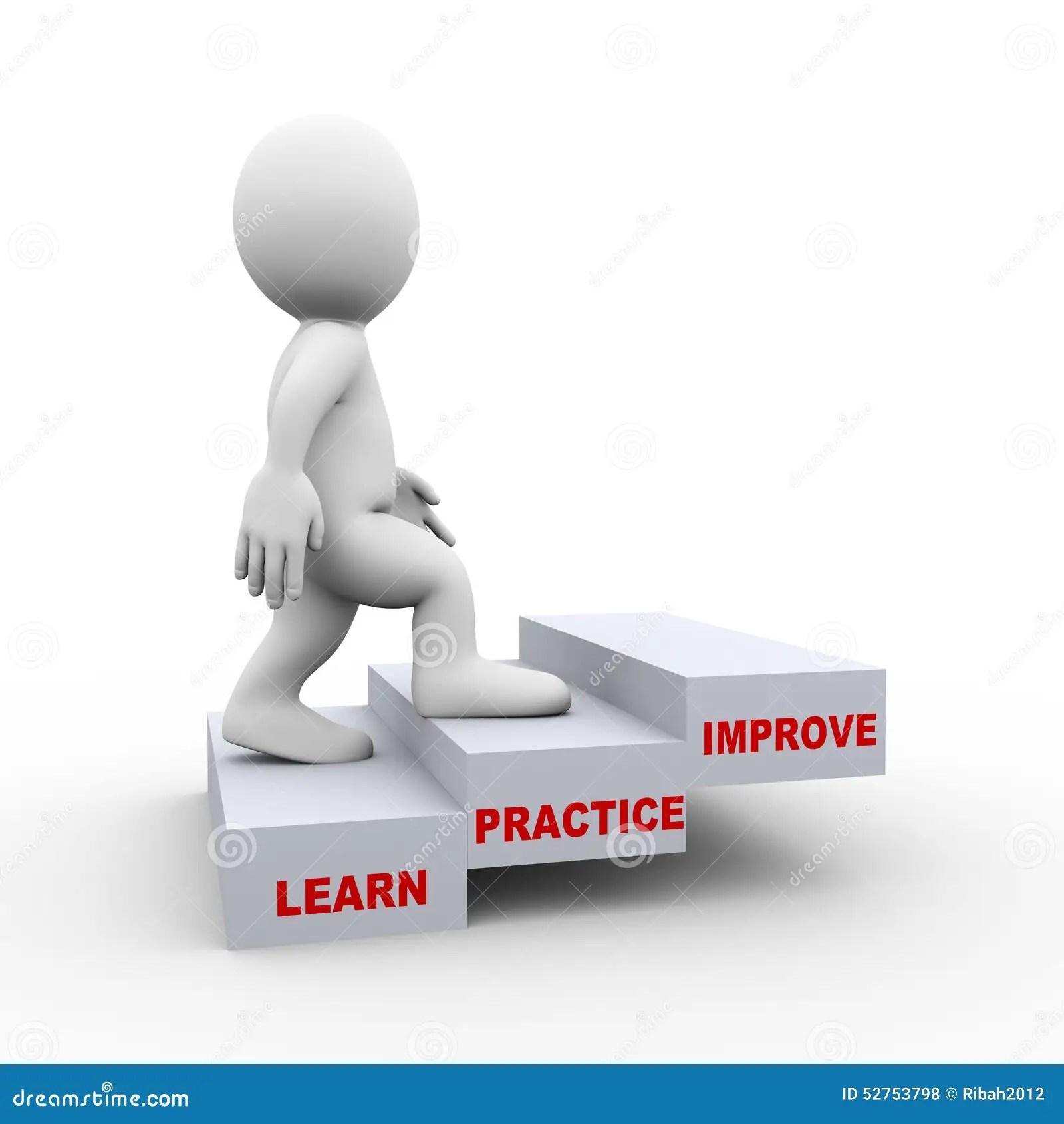 3d Man On Learn Practice Improve Steps Stock Illustration