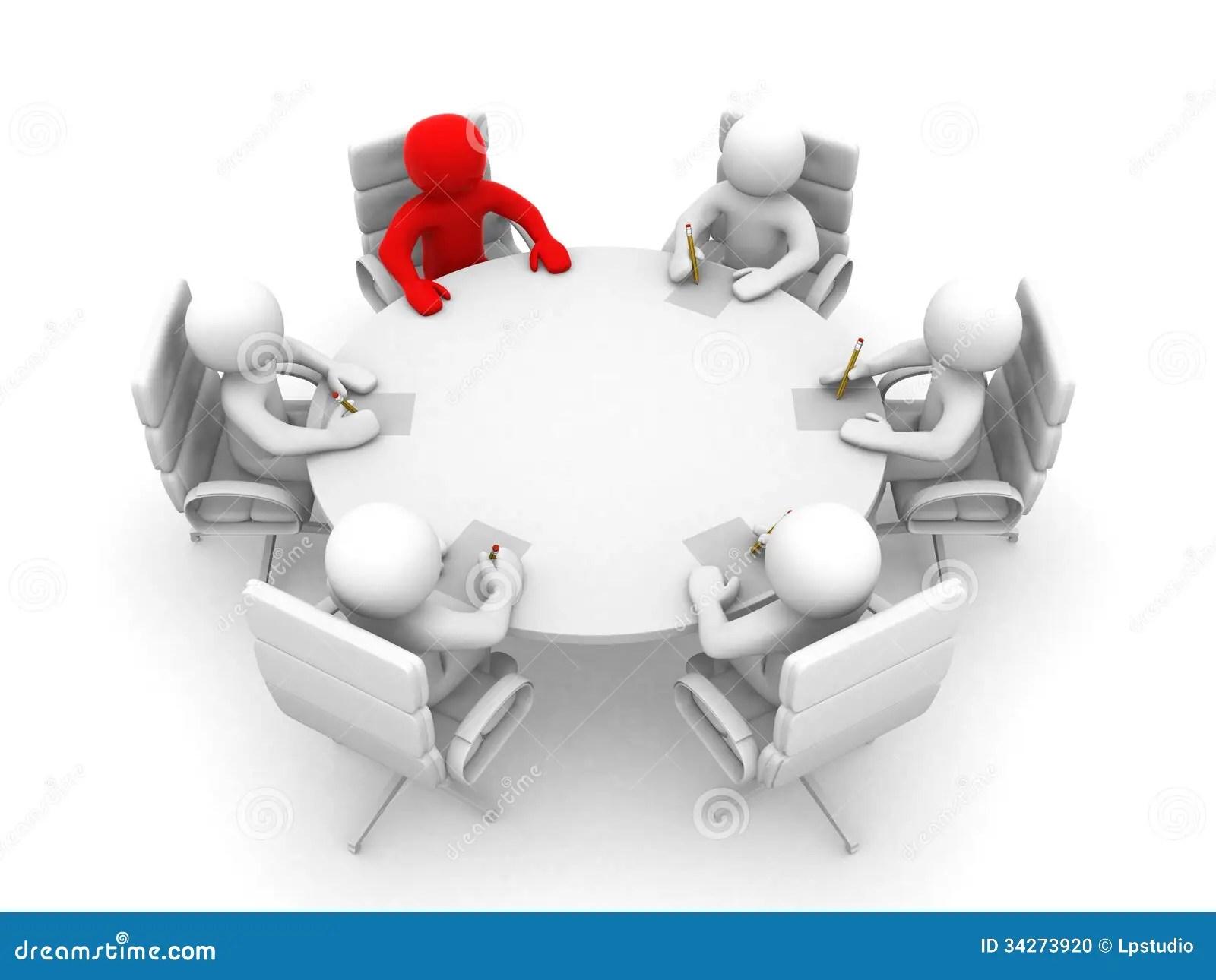 3d Mensen Bij Een Rondetafel Zitten En Commerciele