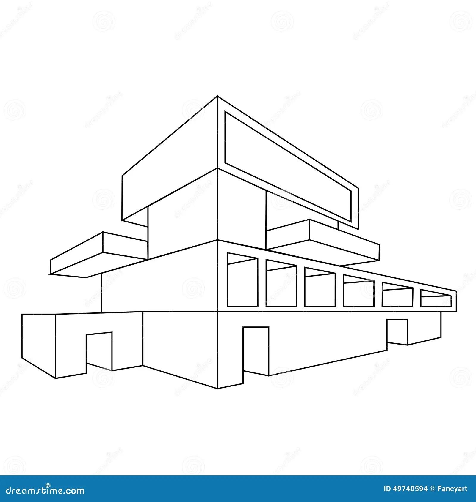 2d Perspectieftekening Van Huis Vector Illustratie