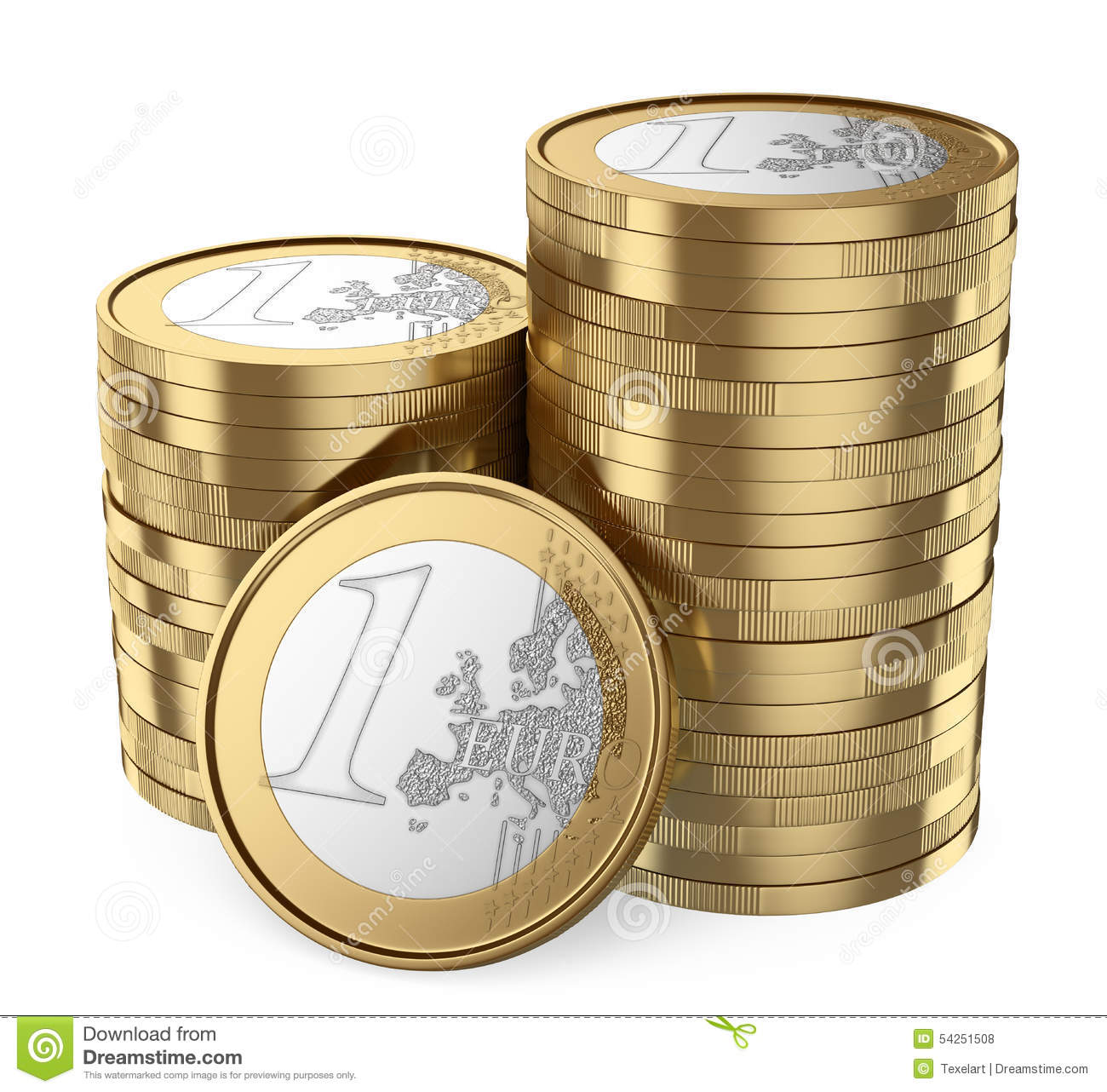 3d Pile Of Euro Coins Stock Illustration